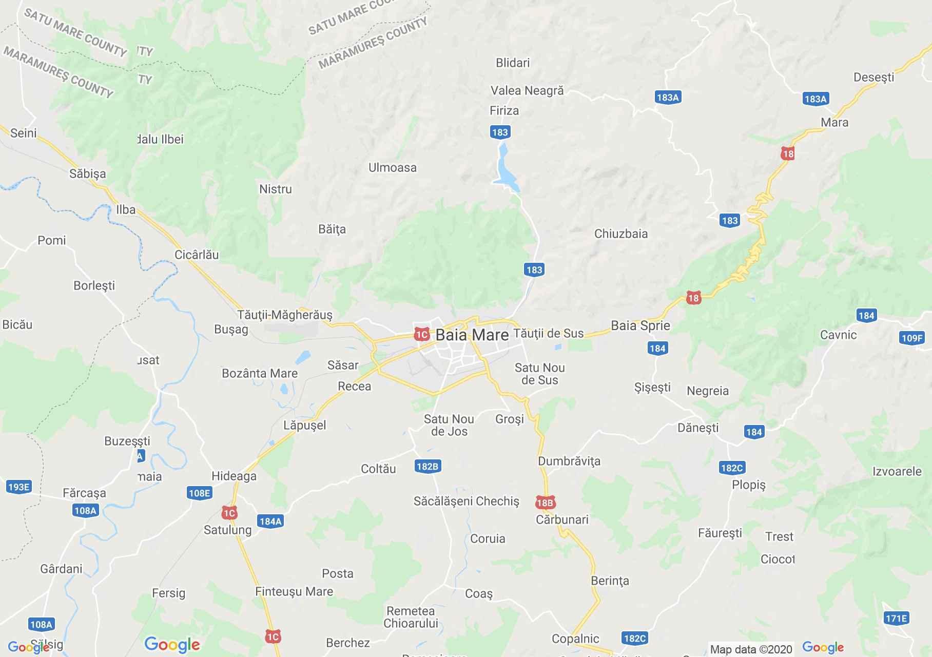 Nagybánya környéke interaktív turista térképe.