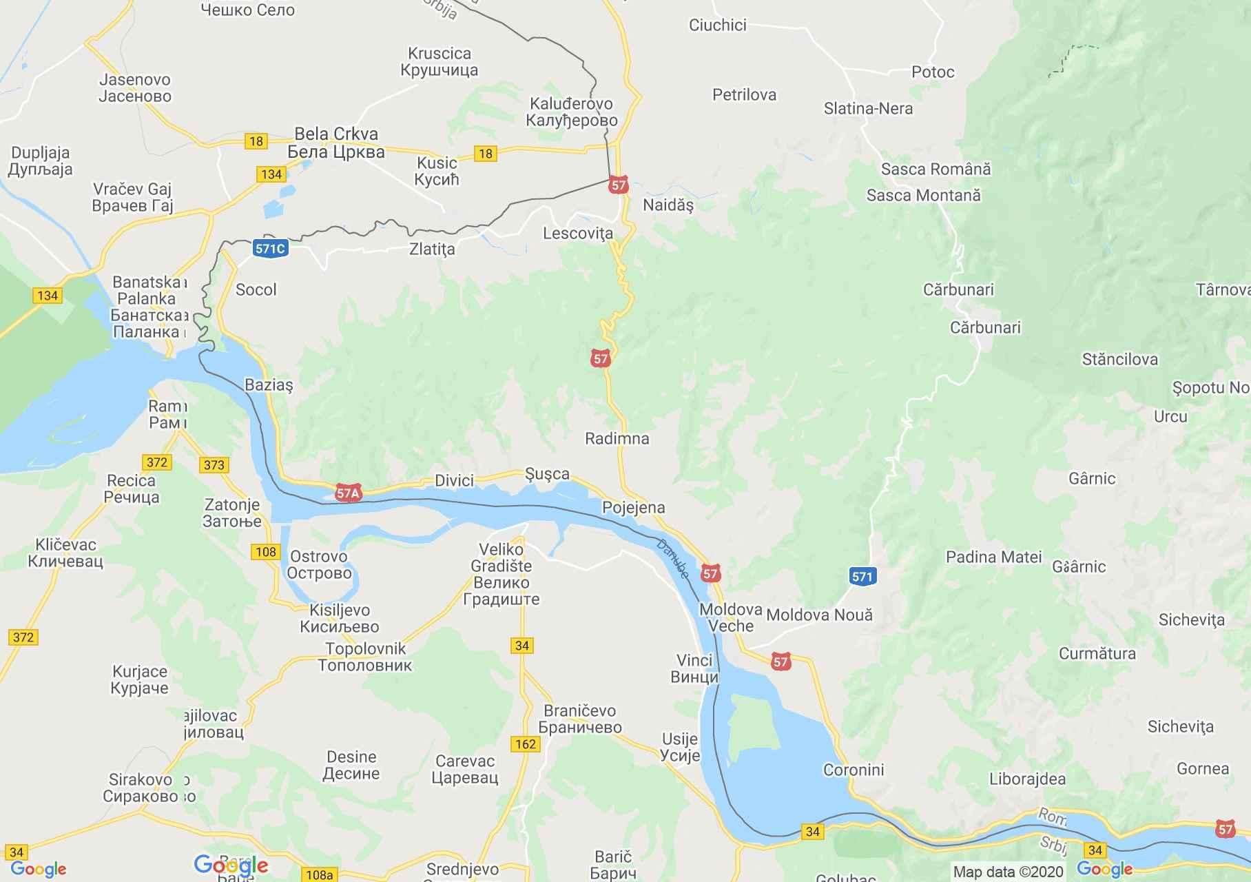 Baziaş-Moldova Nouă coronin area, Interactive tourist map