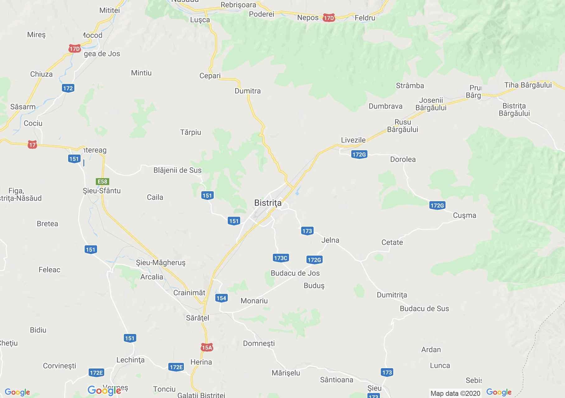 Zona Bistrița, Harta turistică interactivă