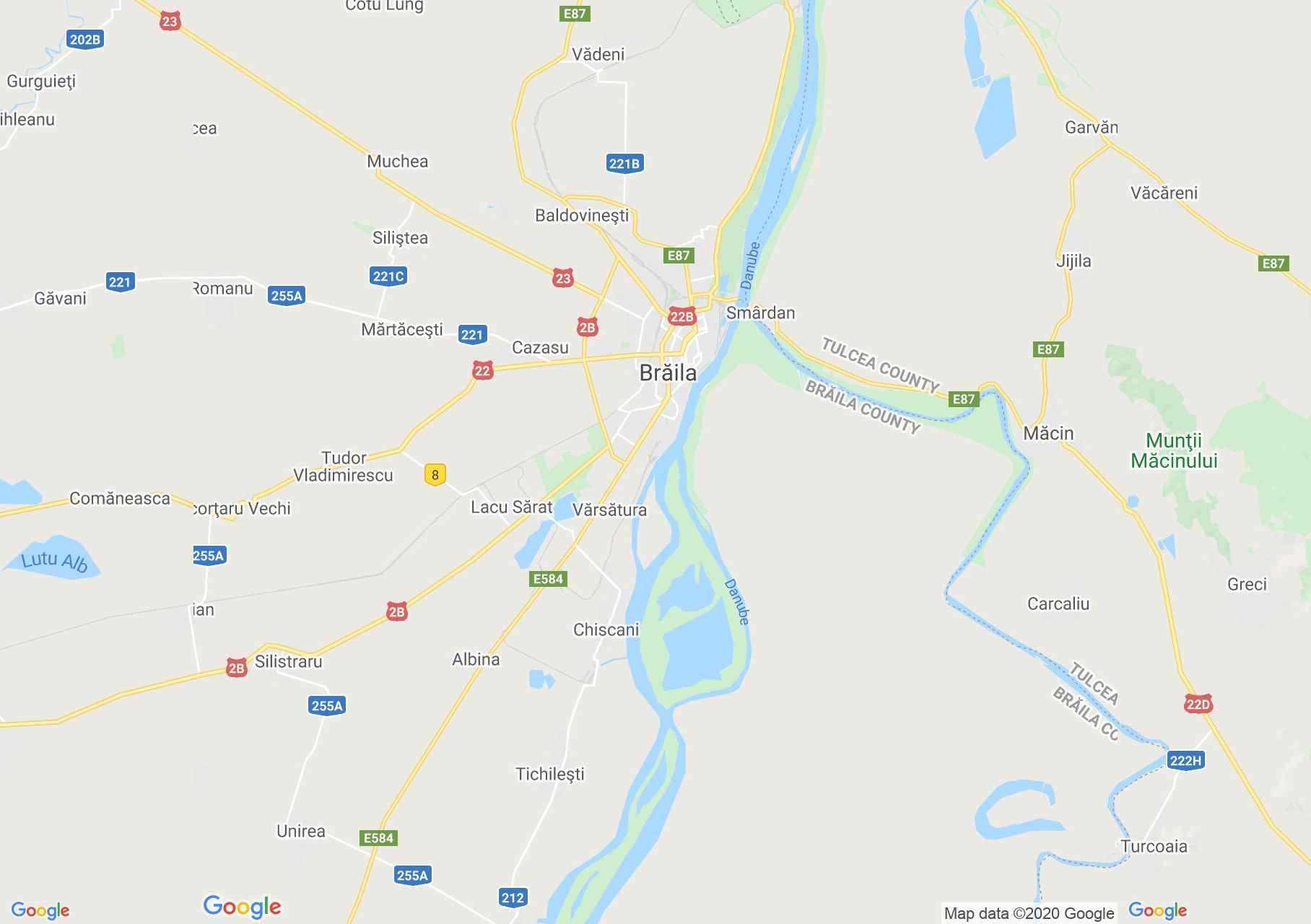 Braila környéke interaktív turista térképe.