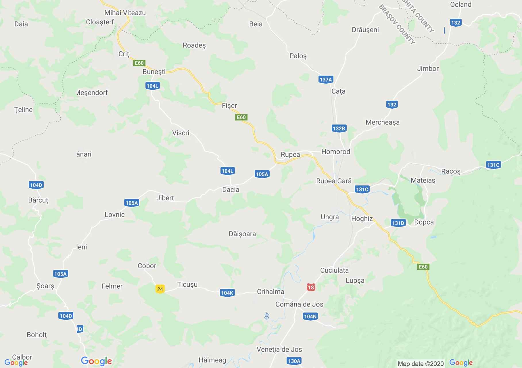 Braşov - Sighişoara area, Interactive tourist map