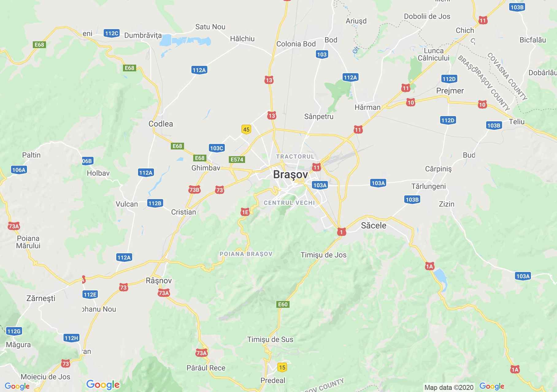 Braşov area, Interactive tourist map