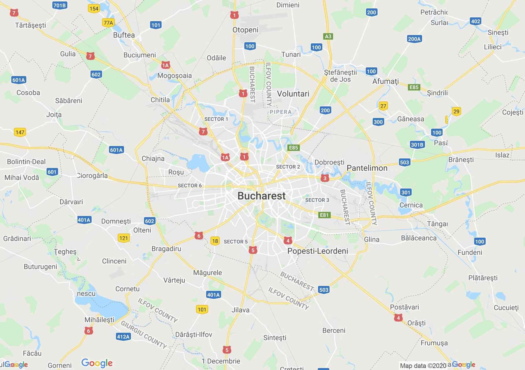 Bukarest környéke interaktív turista térképe.