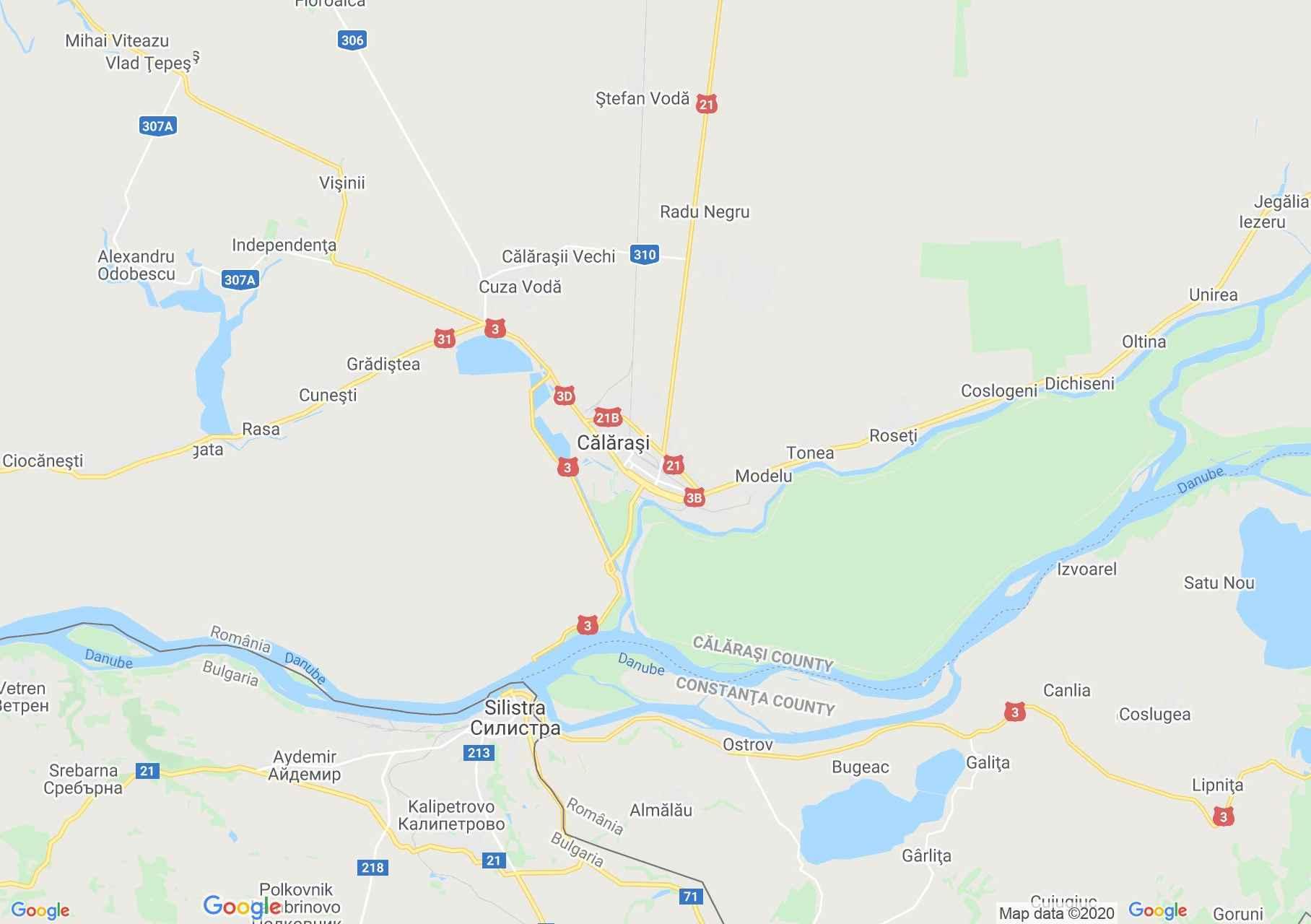 Călărași area, Interactive tourist map