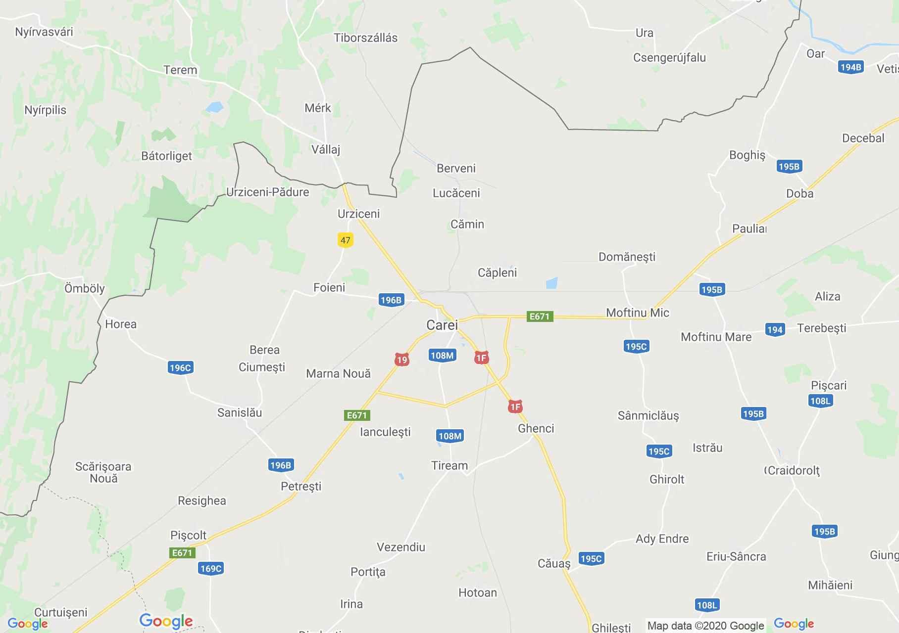 Carei area, Interactive tourist map