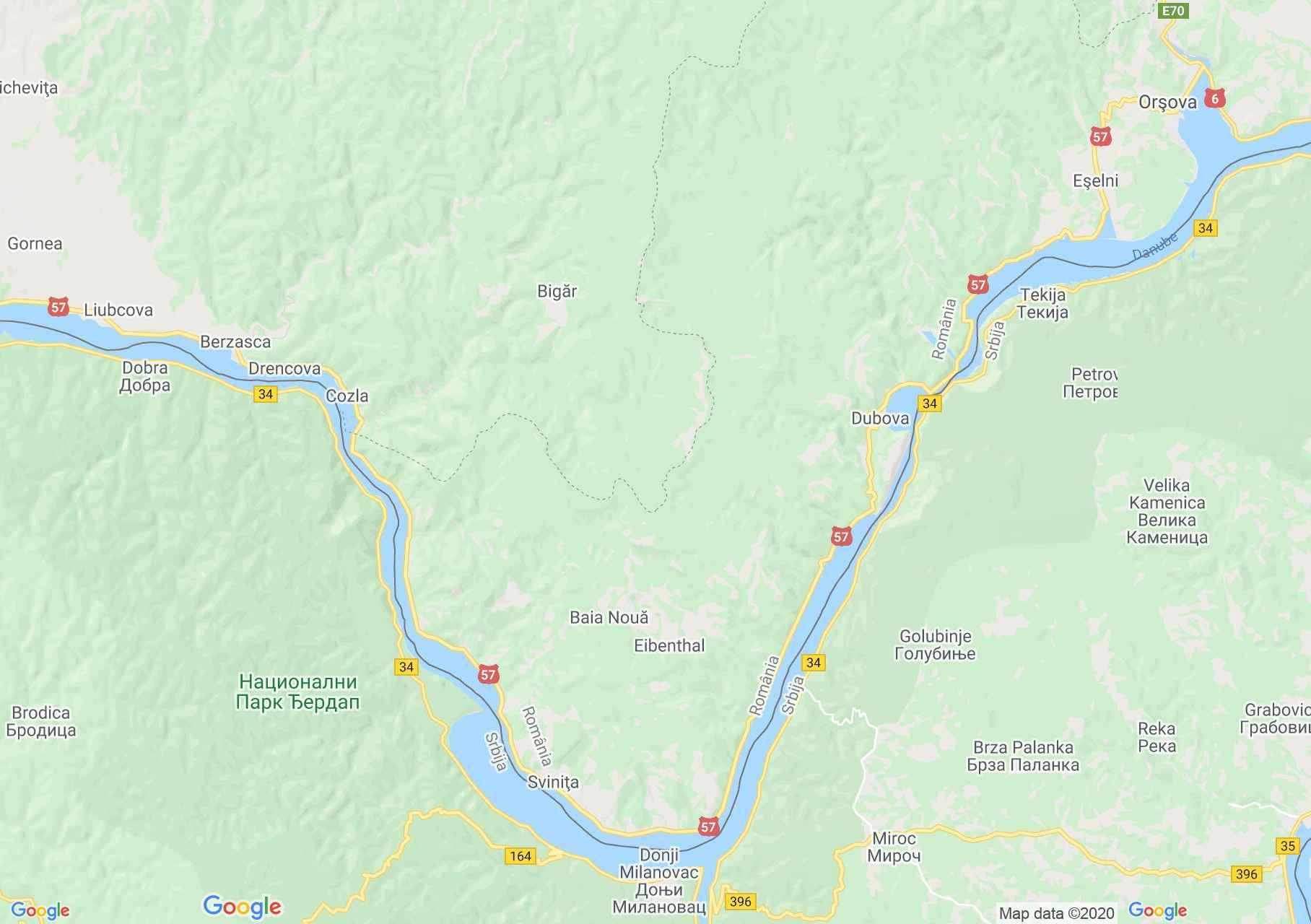 Kazán-szoros interaktív turista térképe.