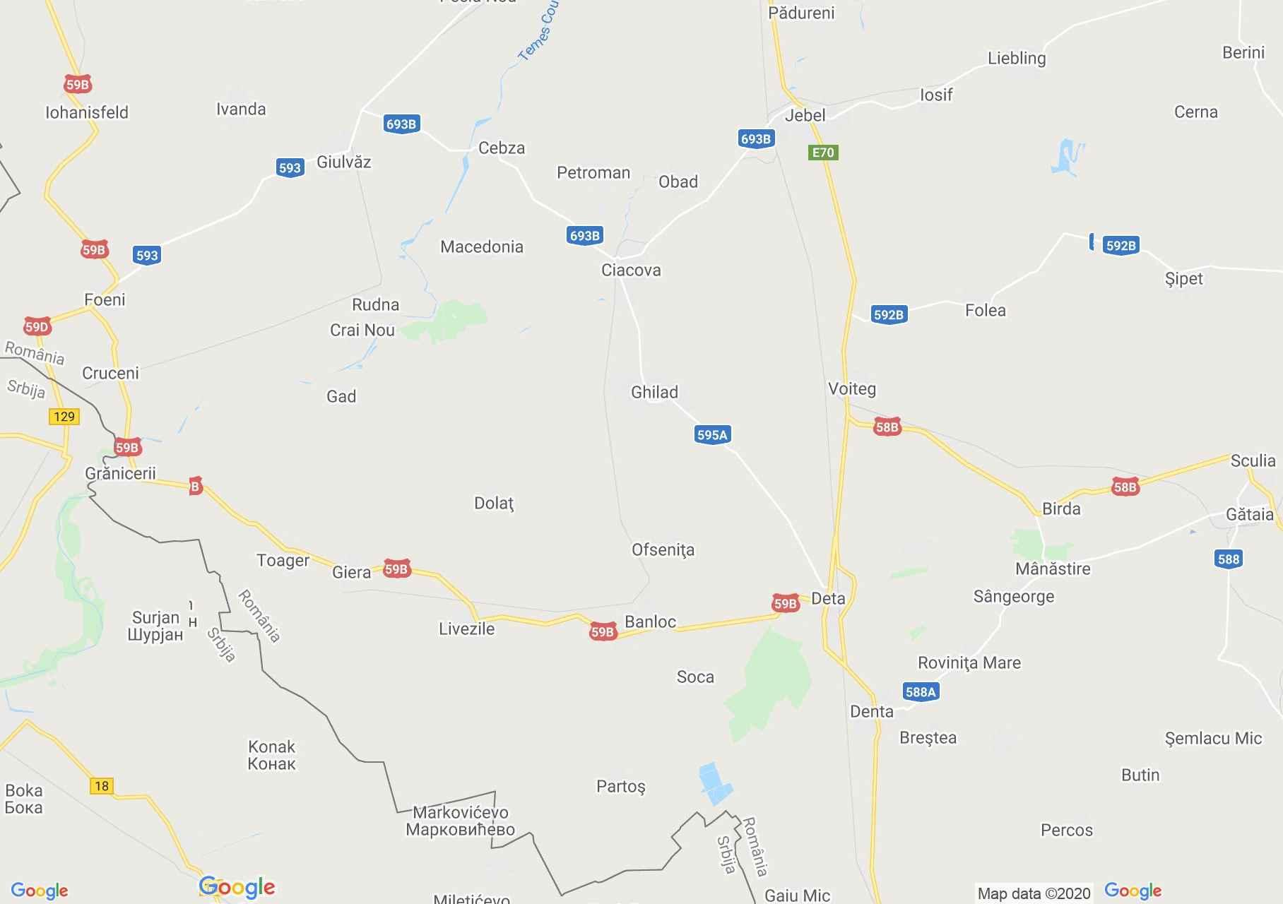 Detta-Csák  interaktív turista térképe.