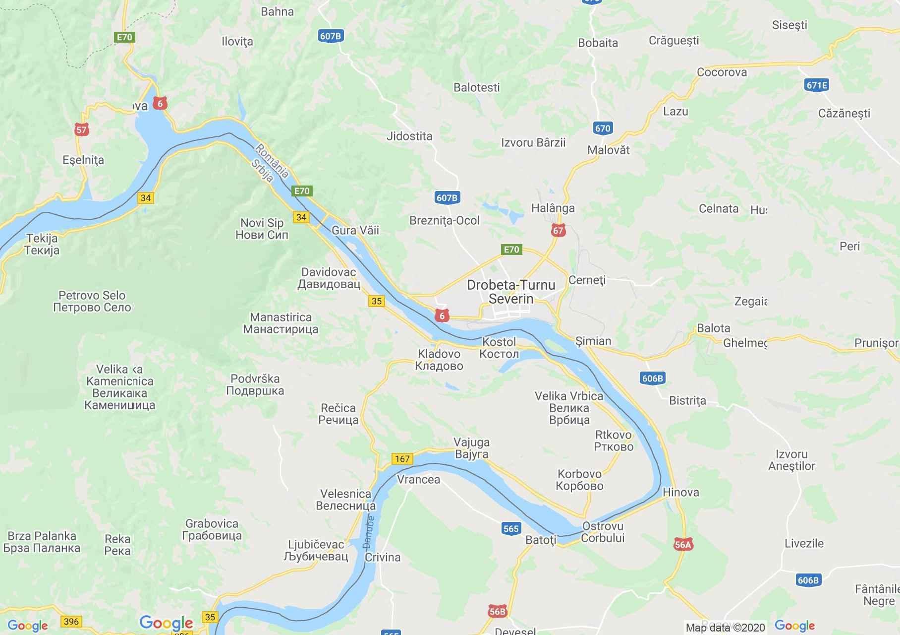 Turnu Szeverin környéke interaktív turista térképe.