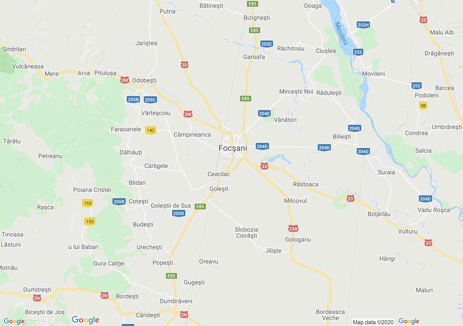 Zona Focșani, Harta turistică interactivă