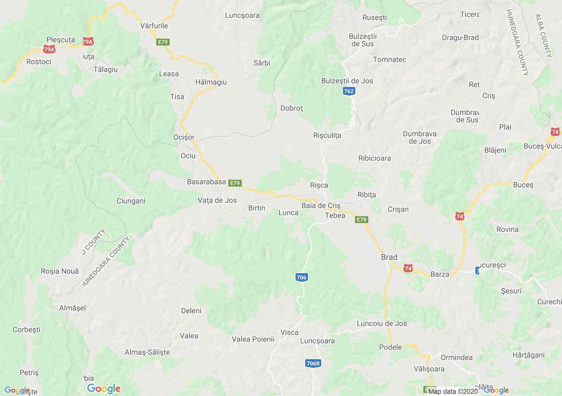 Hălnagiu-Ţebea-Brad area, Interactive tourist map