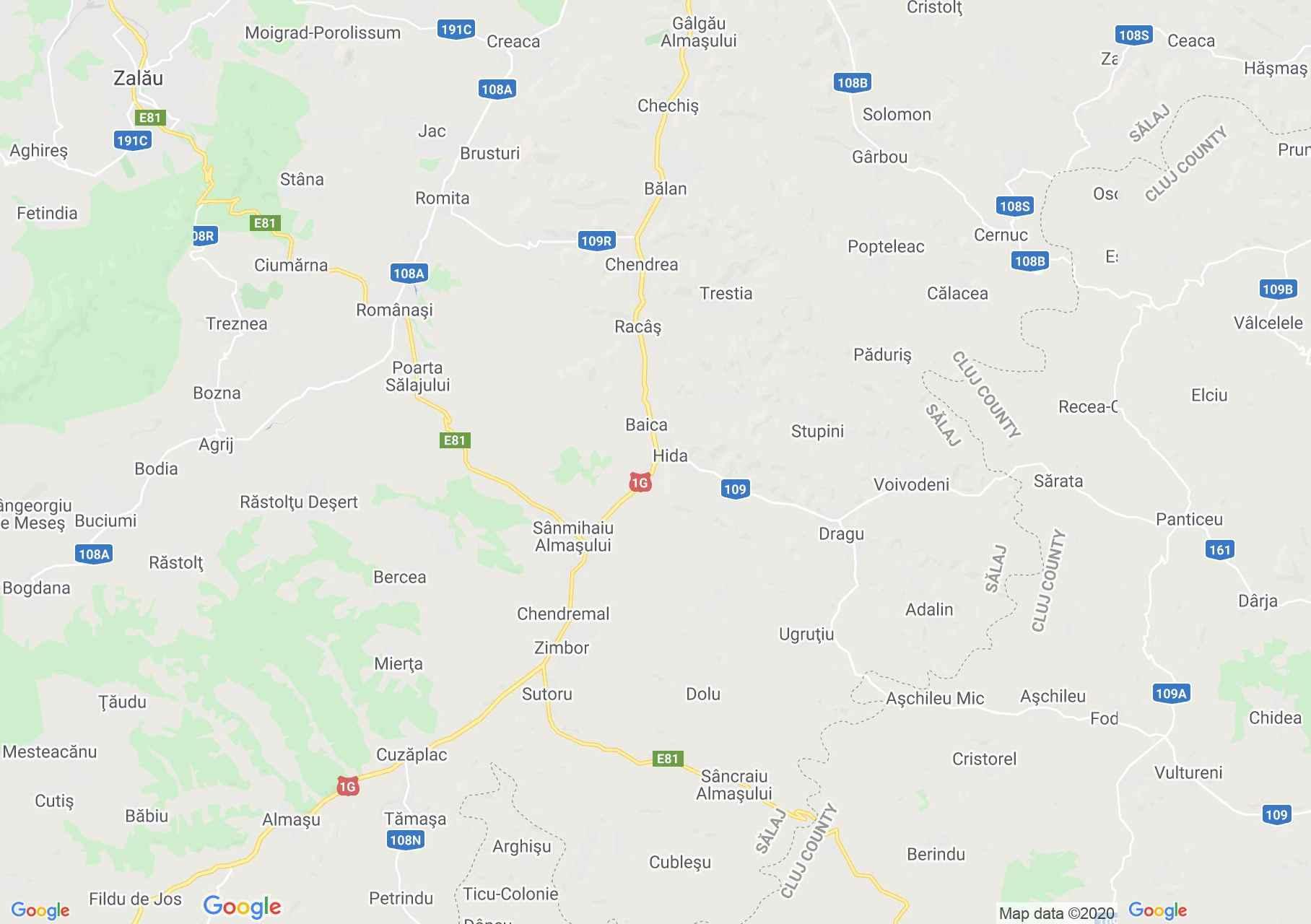 Magyarzsombor, Hida környéke interaktív turista térképe.