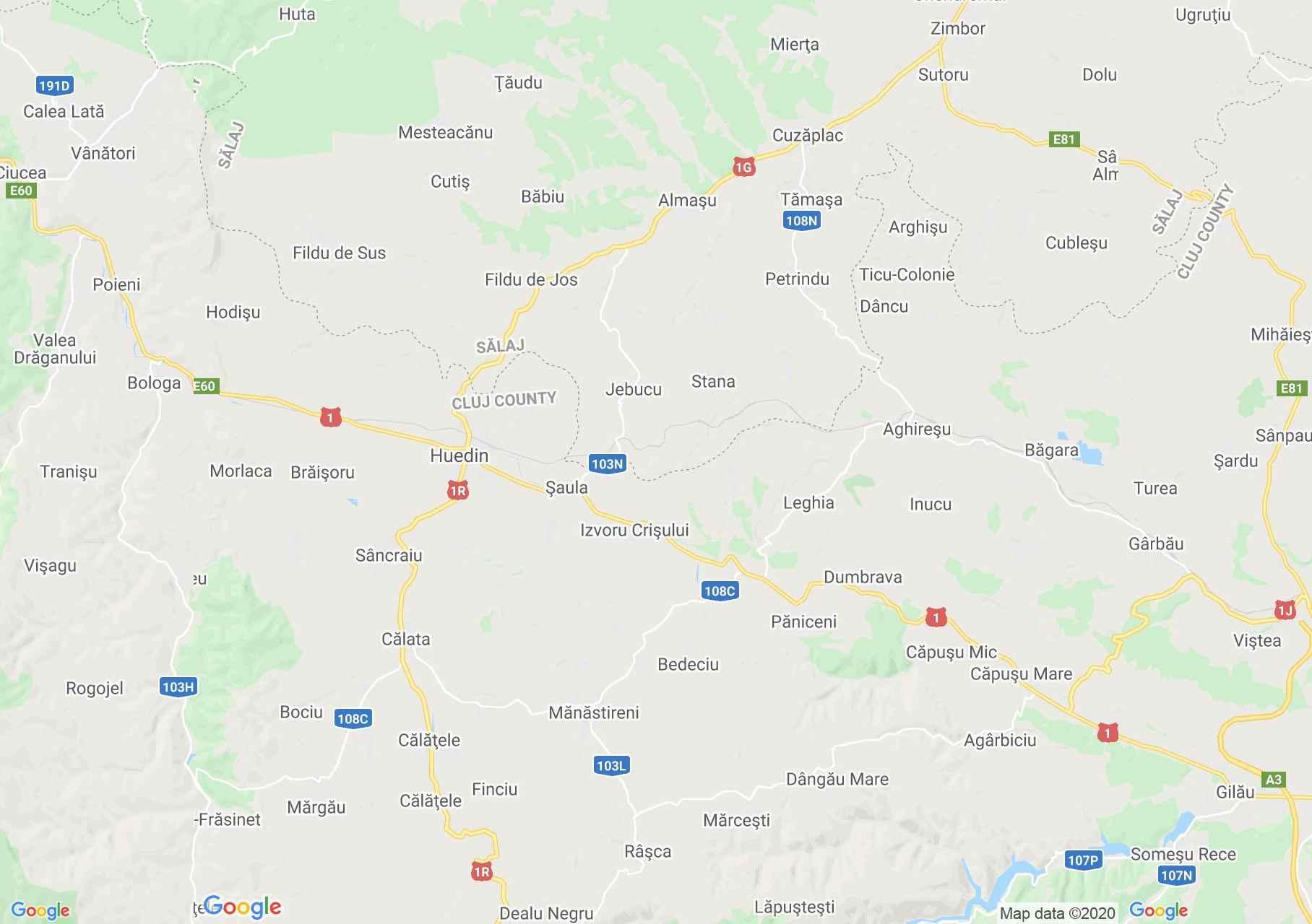 Zona Huedin, Harta turistică interactivă