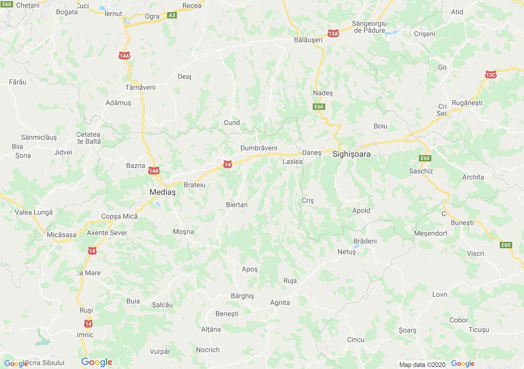 Mediaş - Sighişoara area, Interactive tourist map
