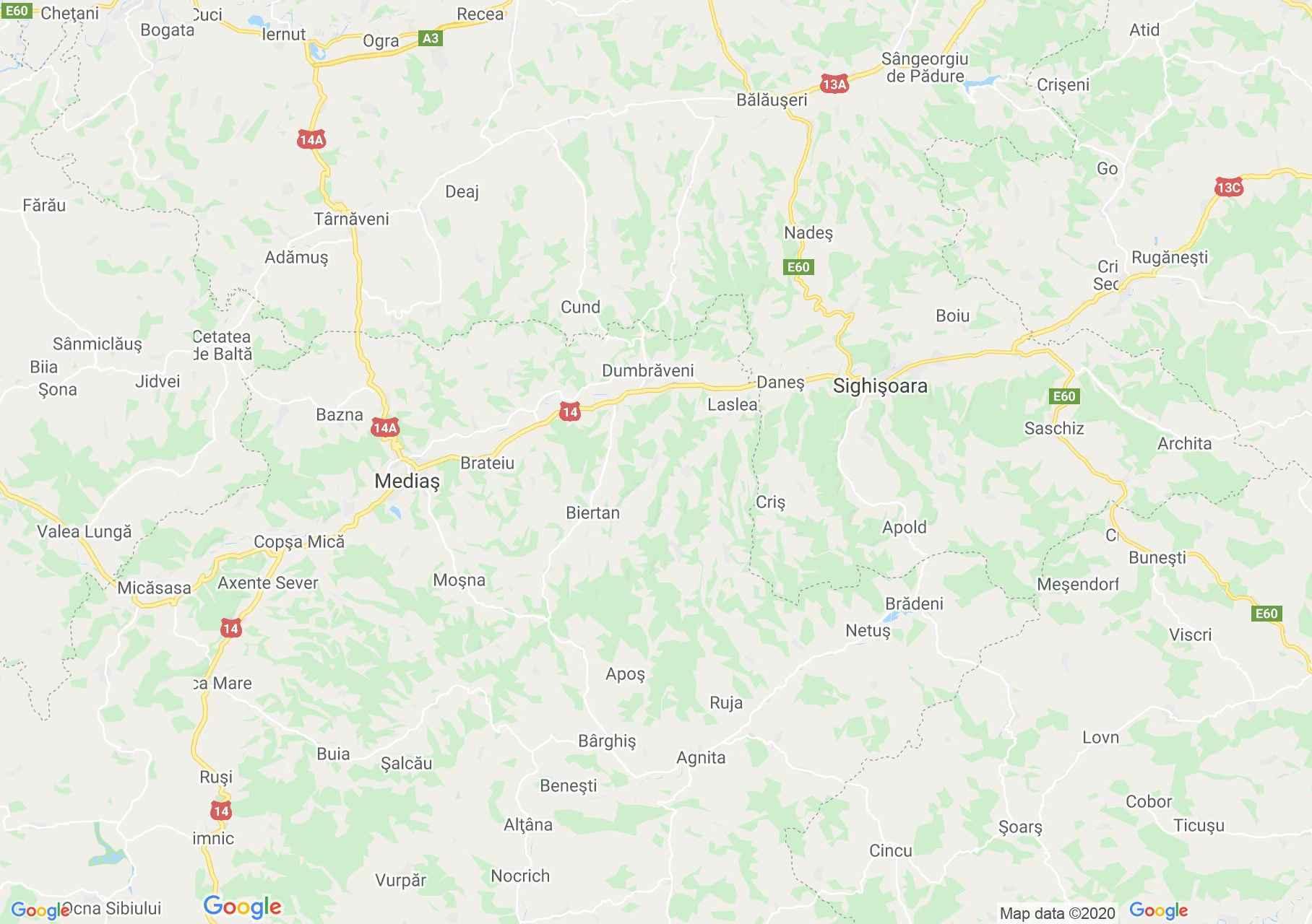 Medgyes - Segesvár interaktív turista térképe.