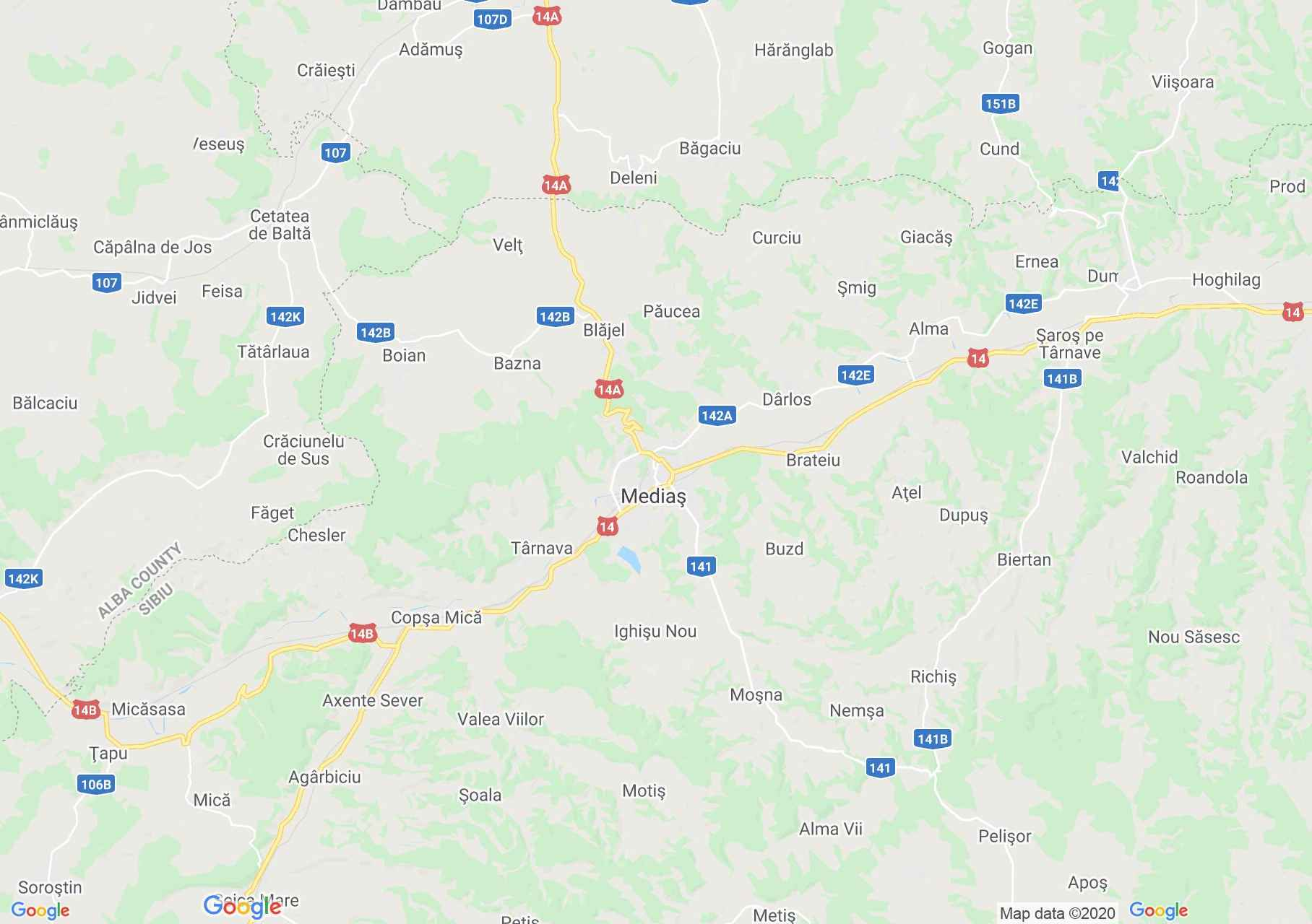 Medgyes környéke interaktív turista térképe.