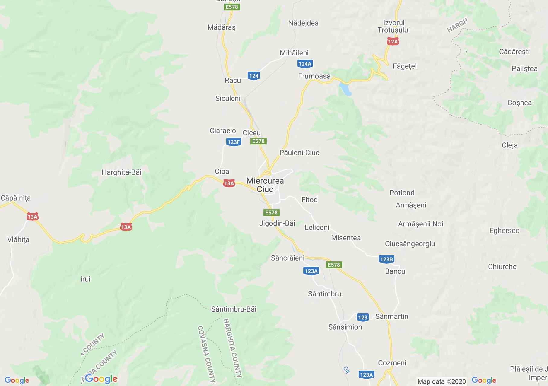 Miercurea Ciuc area, Interactive tourist map