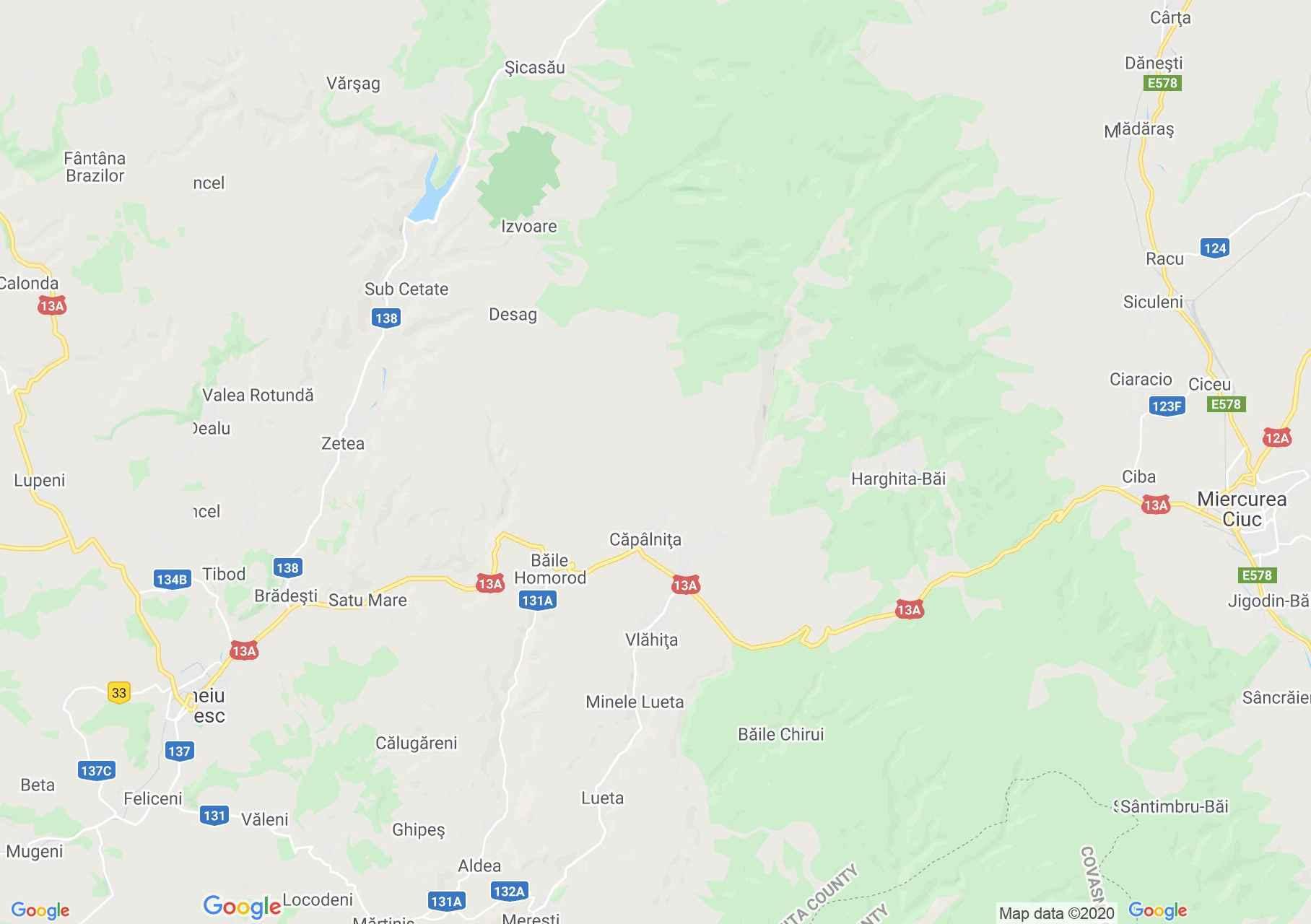 Zona Odorheiu Secuiesc, Miercurea Ciuc, Harta turistică interactivă