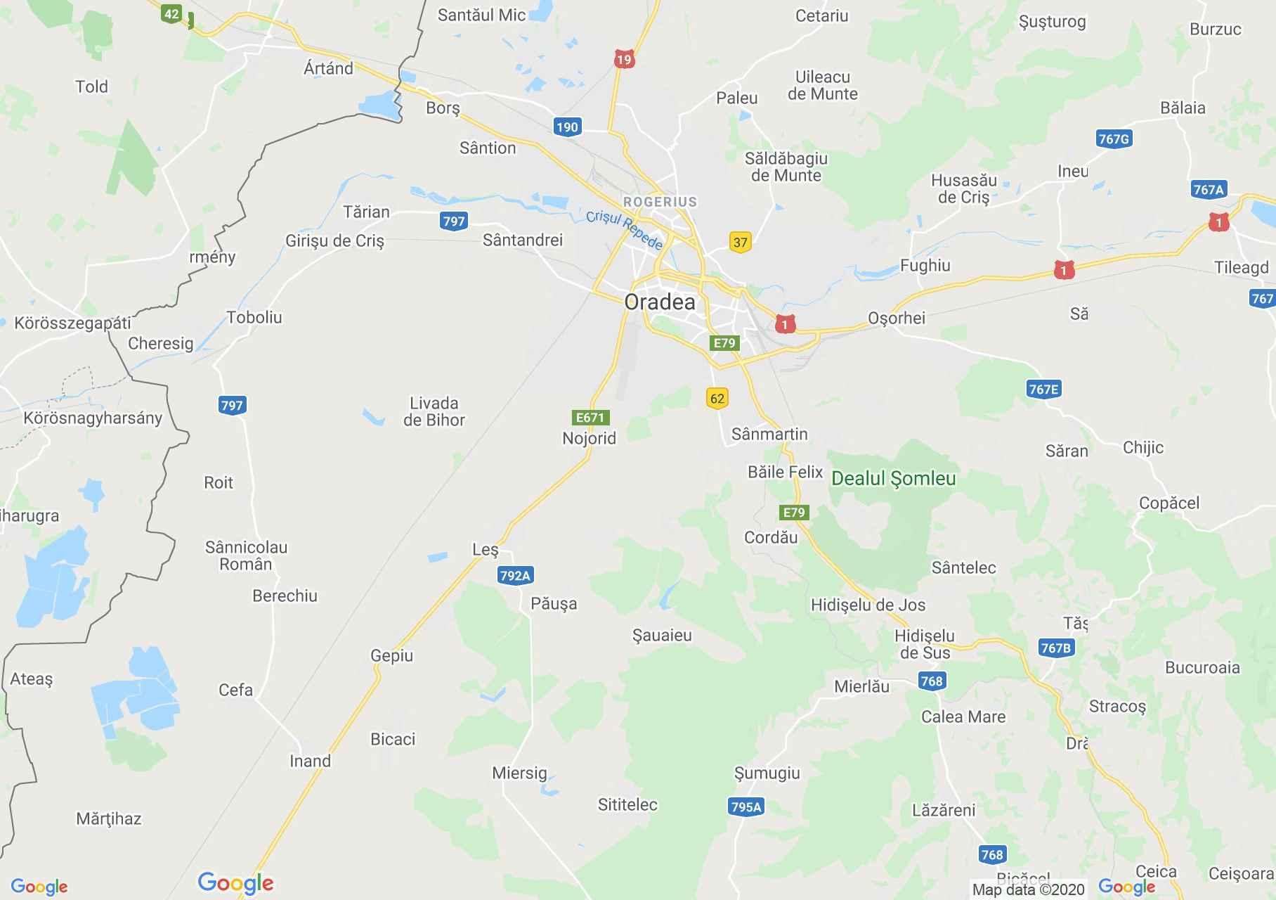 Oradea area, Interactive tourist map