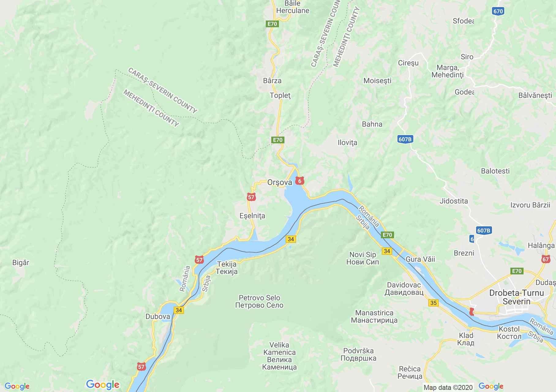 Orsova környéke interaktív turista térképe.