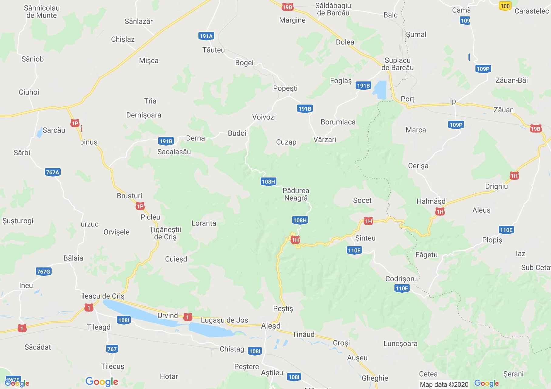 Feketeerdő - Szilágynagyfalu interaktív turista térképe.