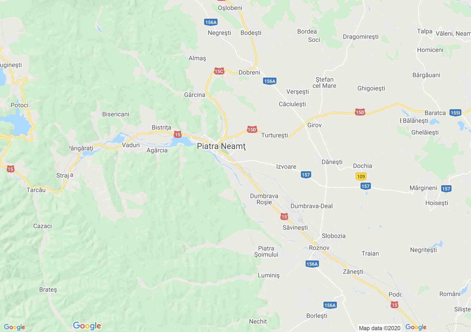 Zona Piatra Neamț, Harta turistică interactivă