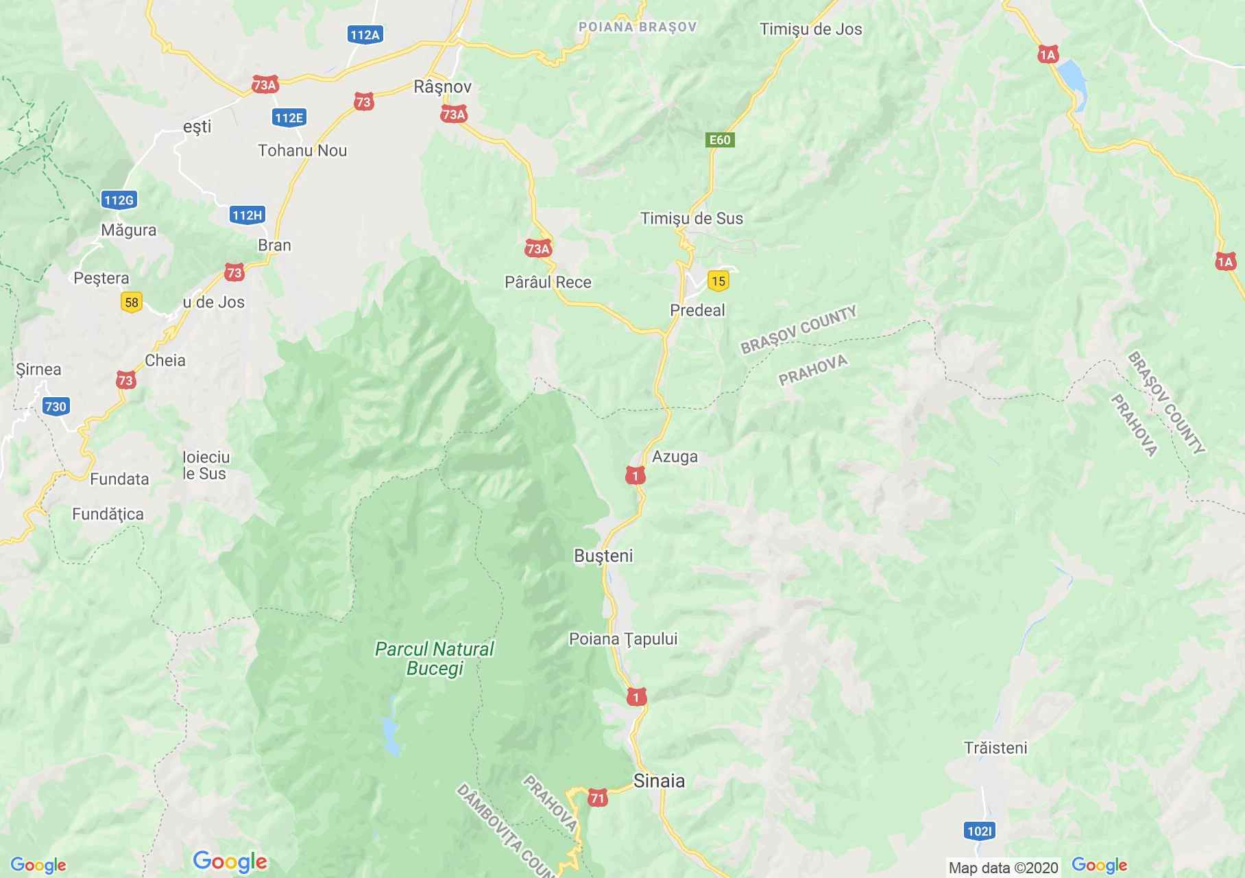 Predeál-Busteni interaktív turista térképe.