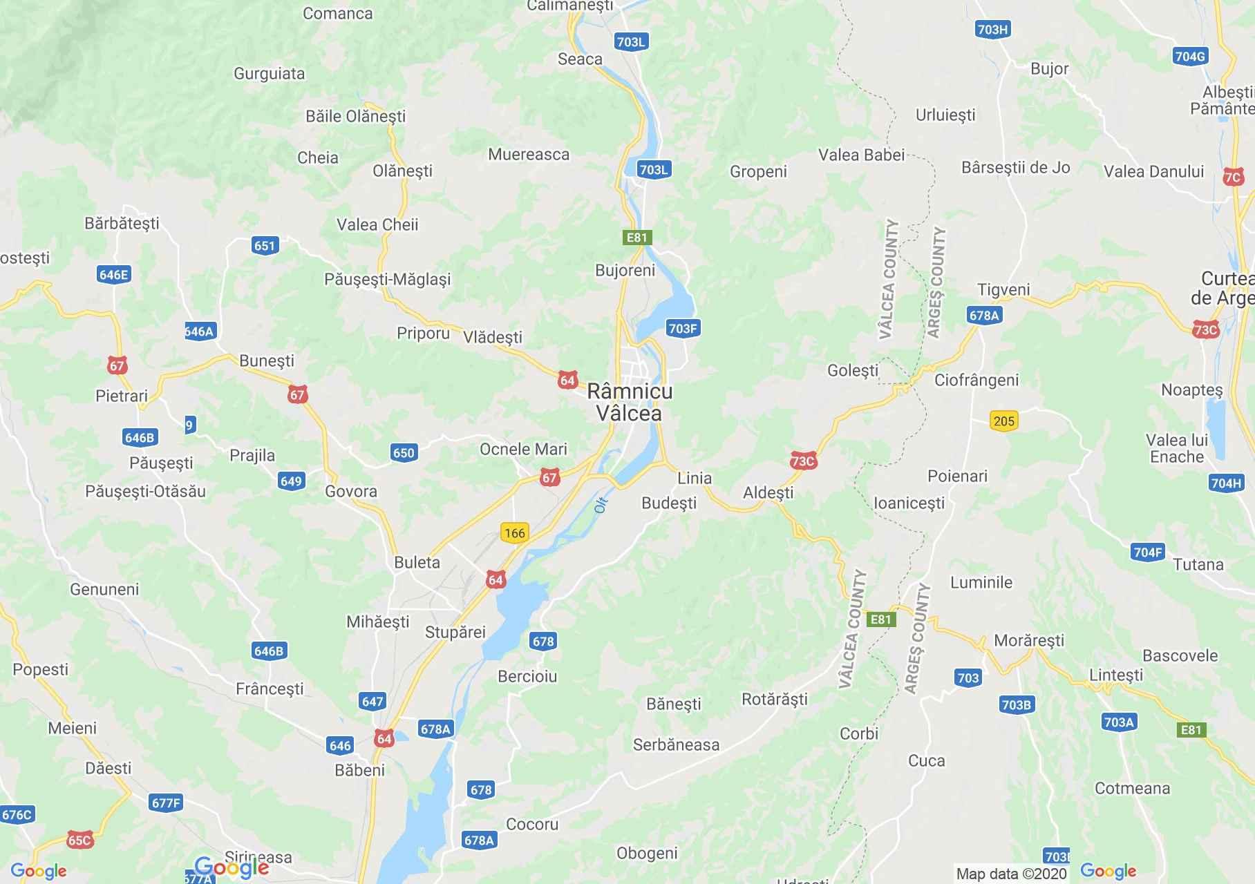 Zona Râmnicu Vâlcea, Harta turistică interactivă