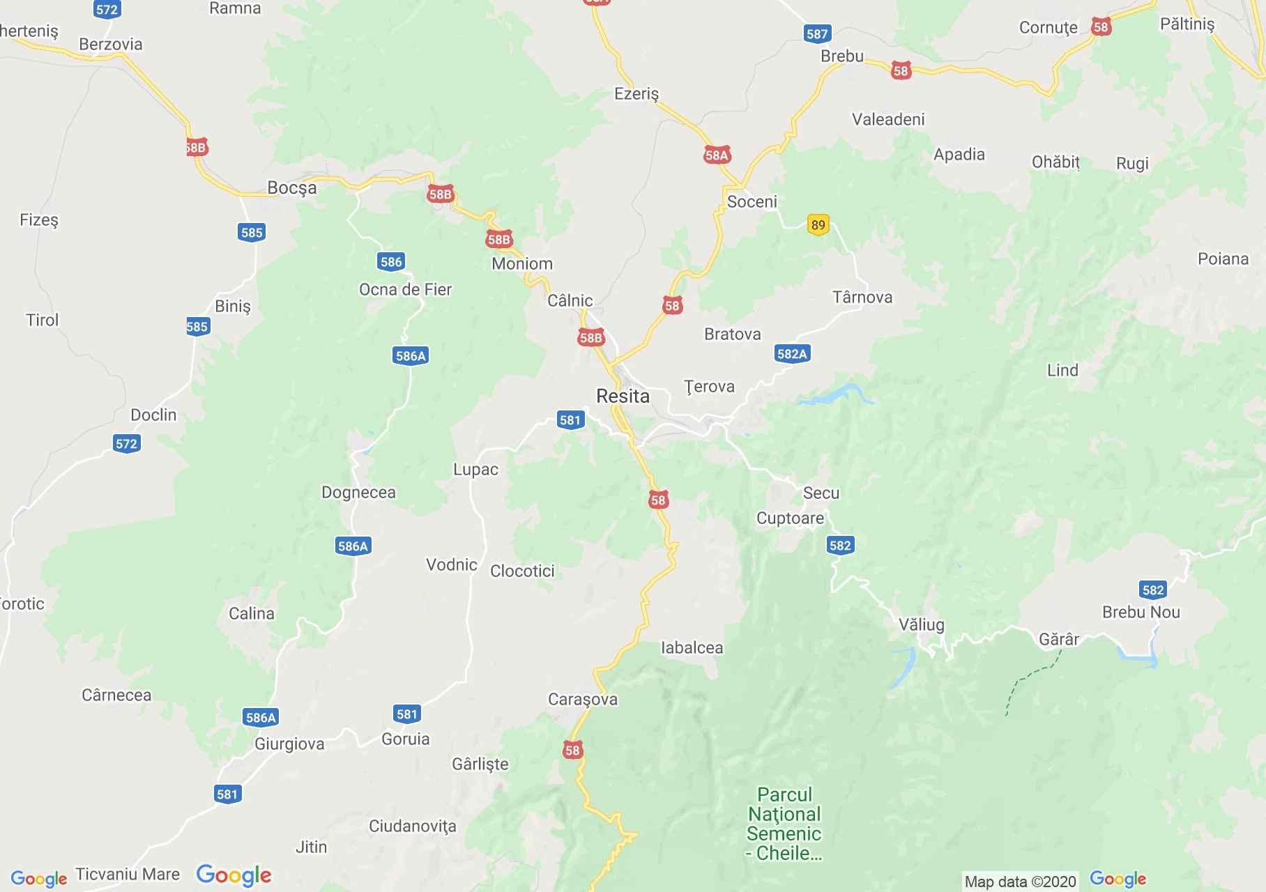 Resica környéke interaktív turista térképe.