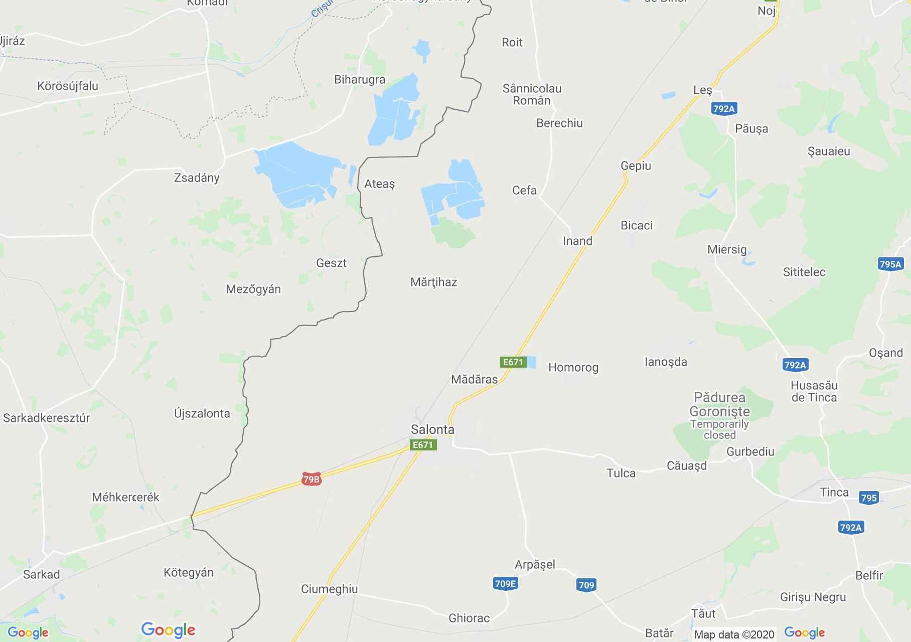 Nagyszalonta-Cséfa interaktív turista térképe.