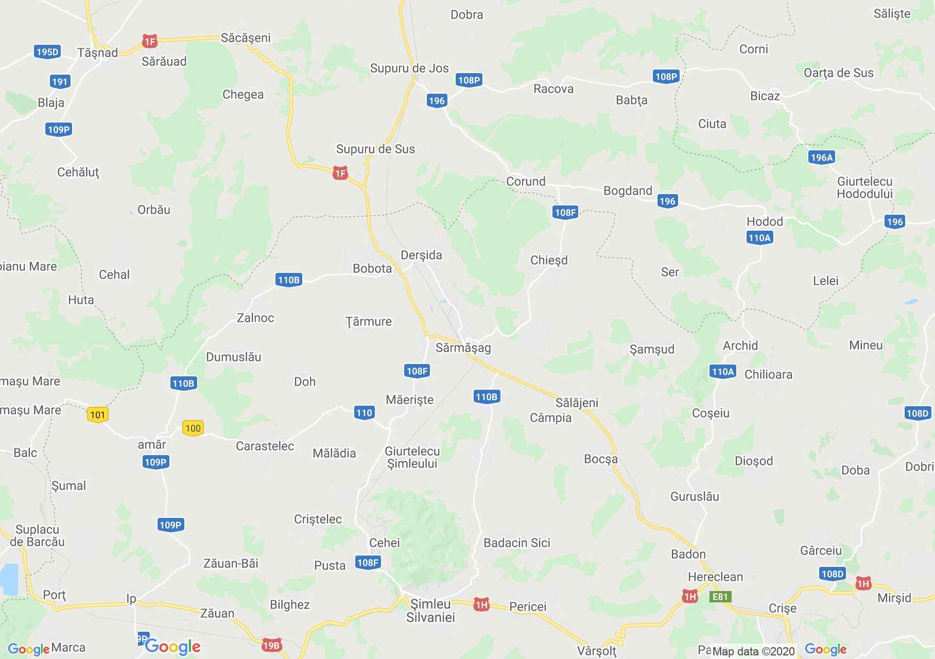 Şărmăşag area, Interactive tourist map