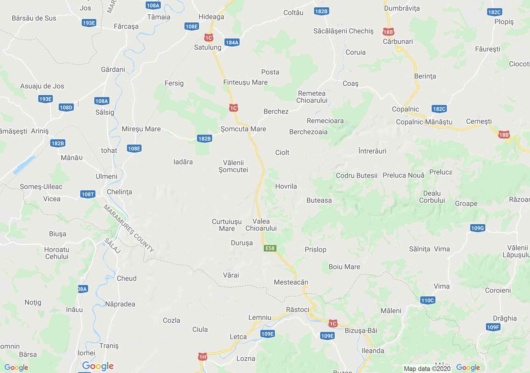 Satulung - Coltău area, Interactive tourist map