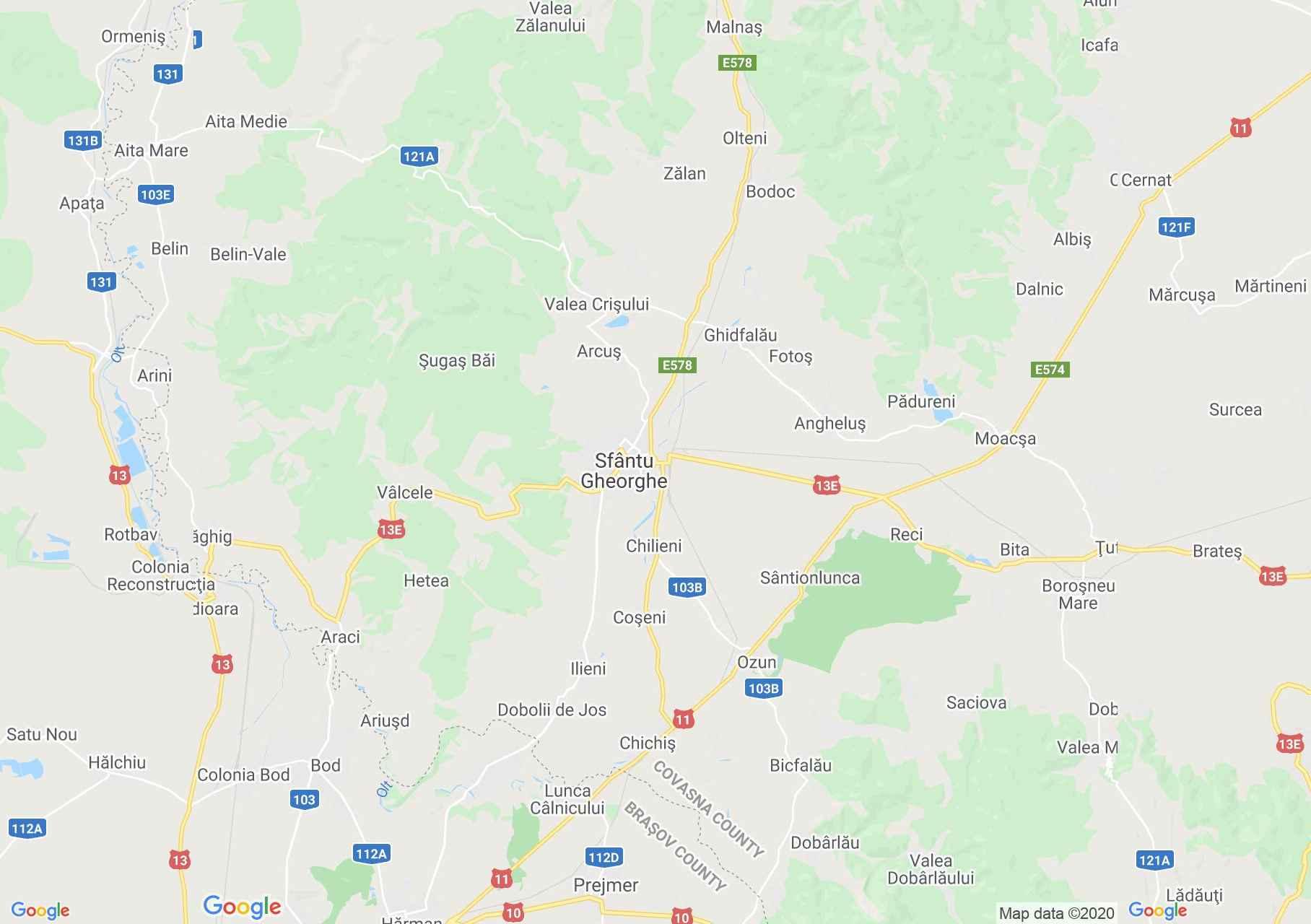 Sepsiszentgyörgy környéke interaktív turista térképe.