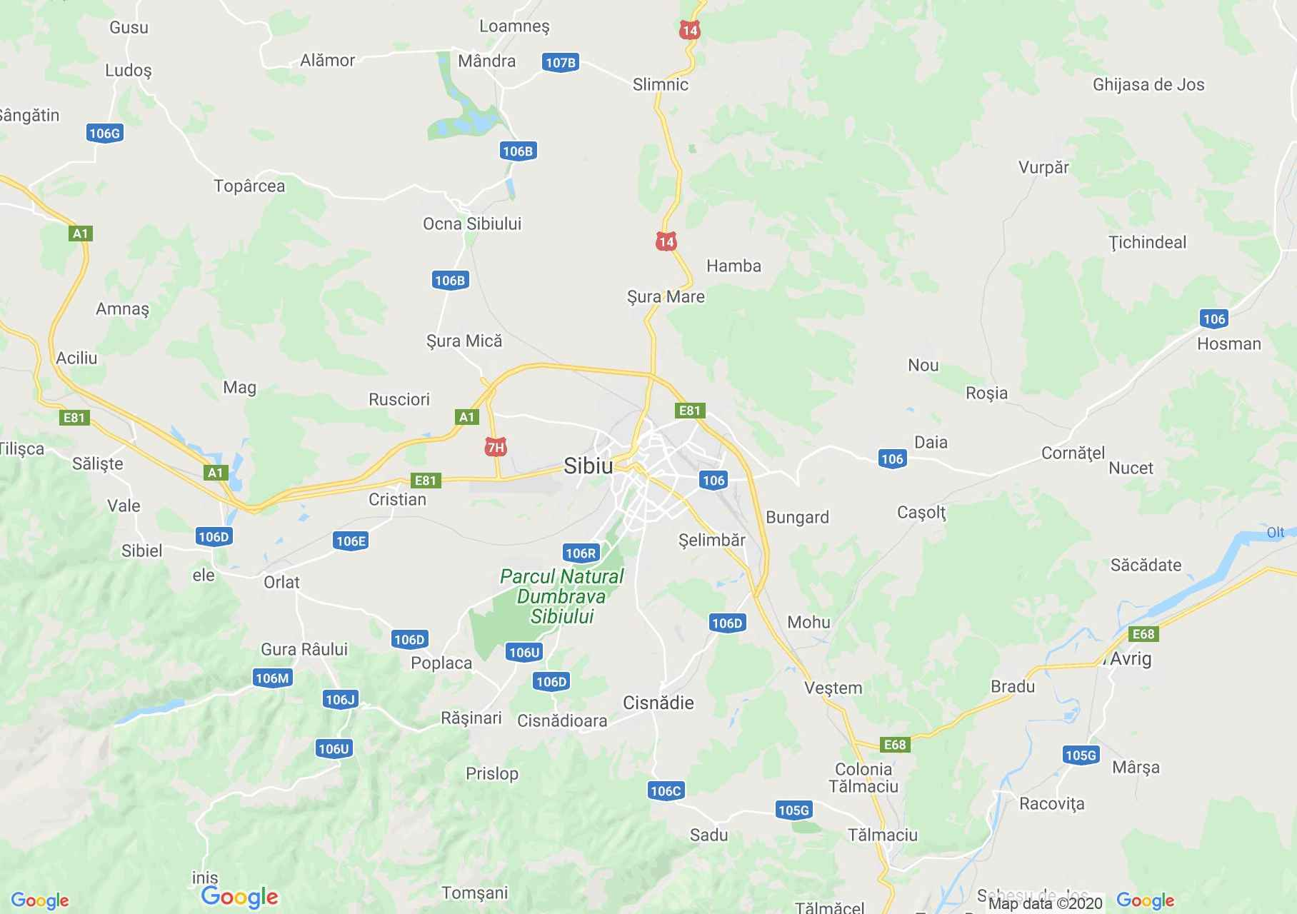 Sibiu area, Interactive tourist map