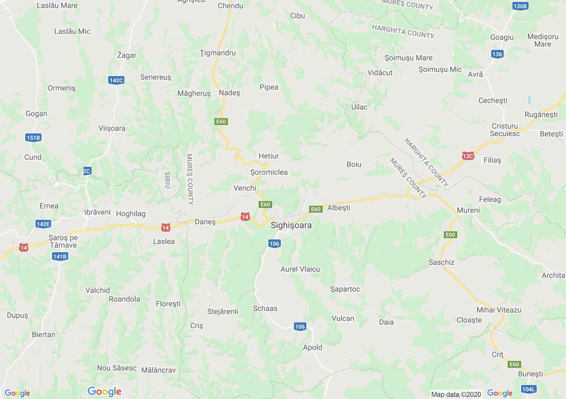 Sighişoara area, Interactive tourist map