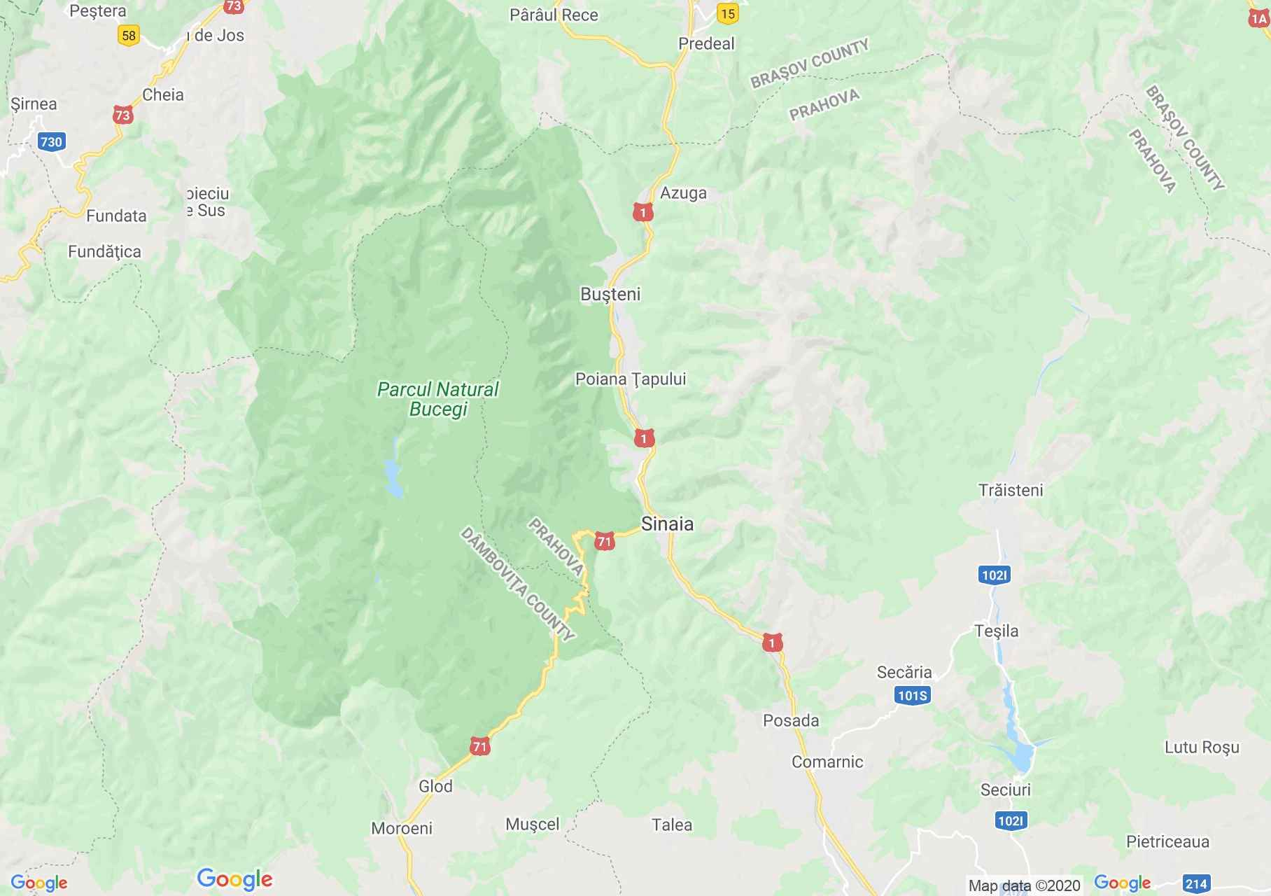 Sinaia area, Interactive tourist map