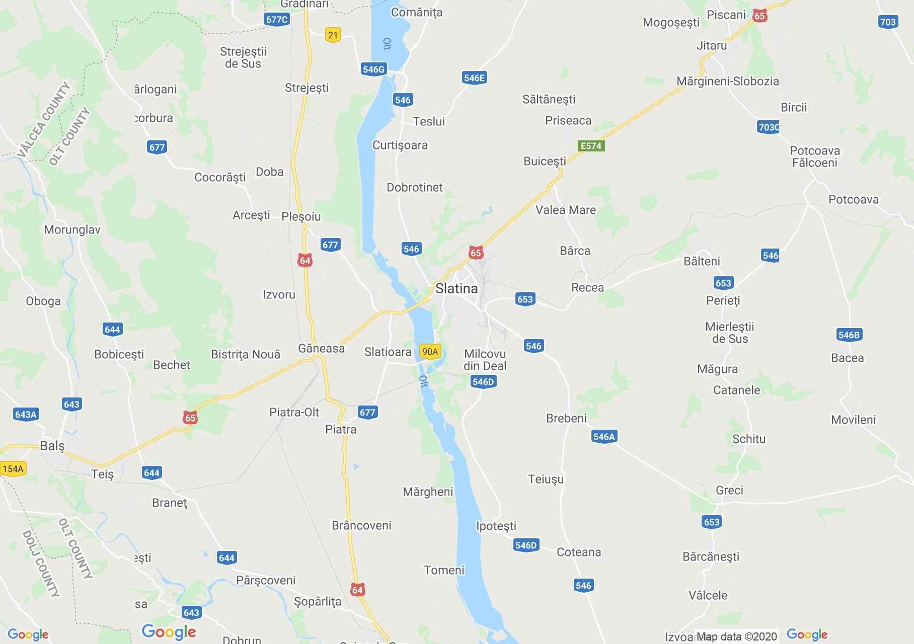 Szlatina környéke interaktív turista térképe.
