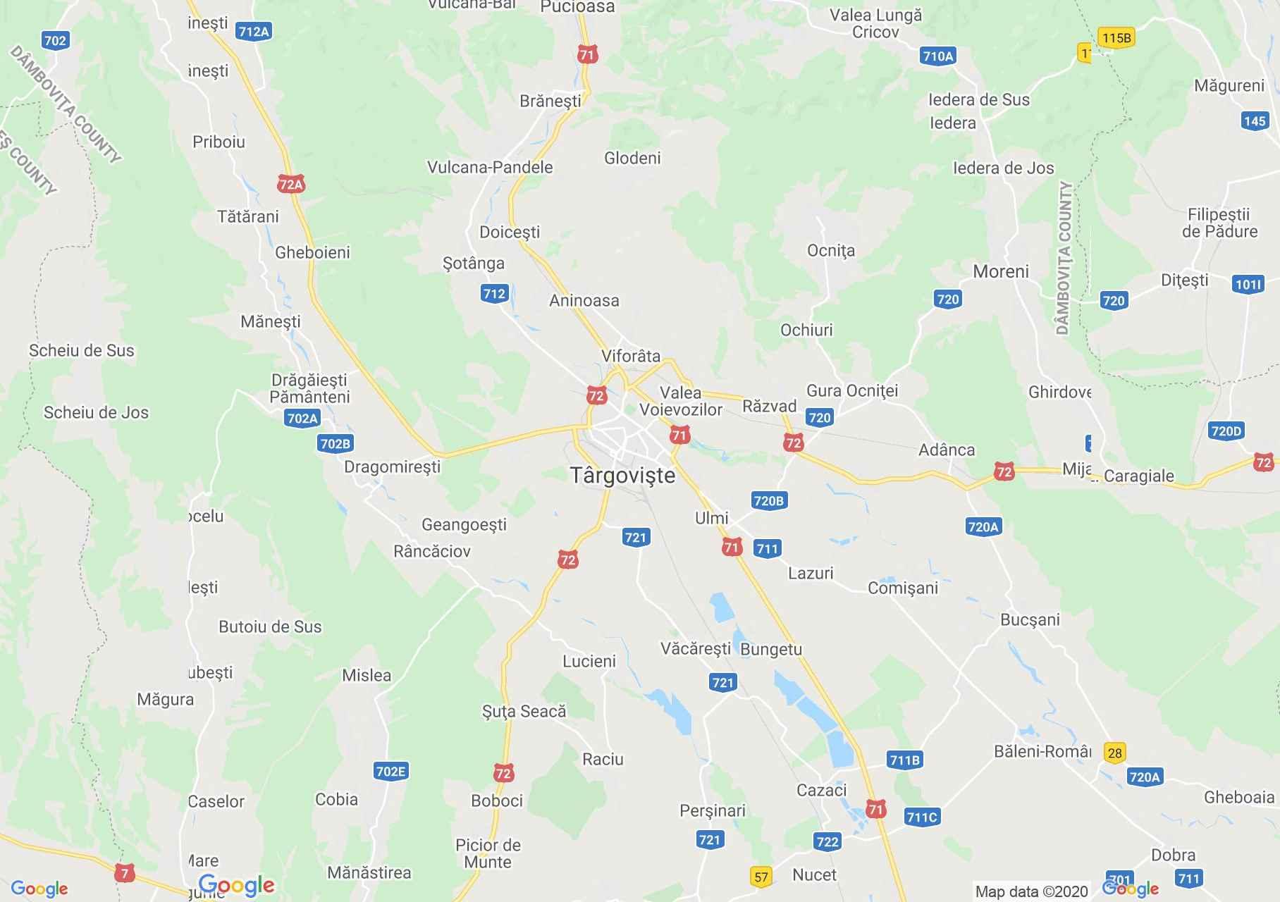 Târgoviște area, Interactive tourist map