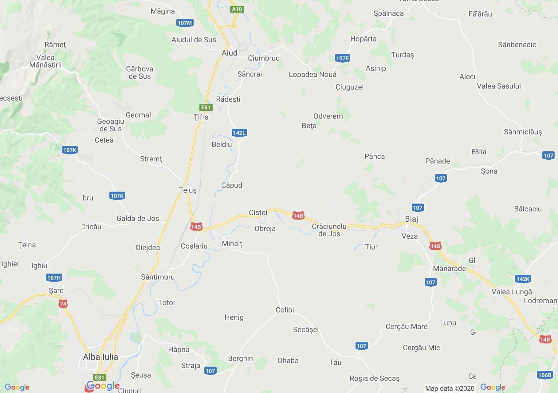 Zona Teiuş-Blaj, Harta turistică interactivă
