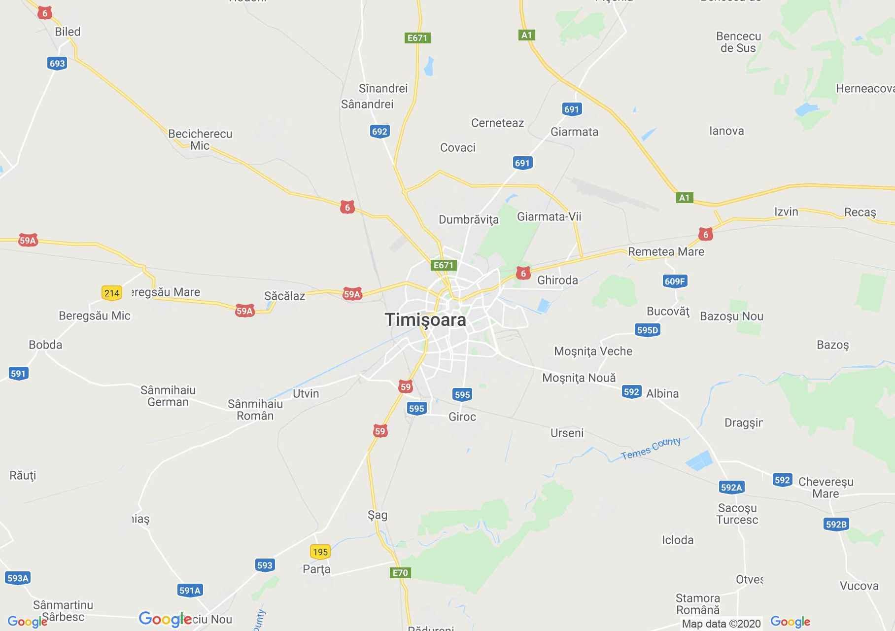 Temesvár környéke interaktív turista térképe.