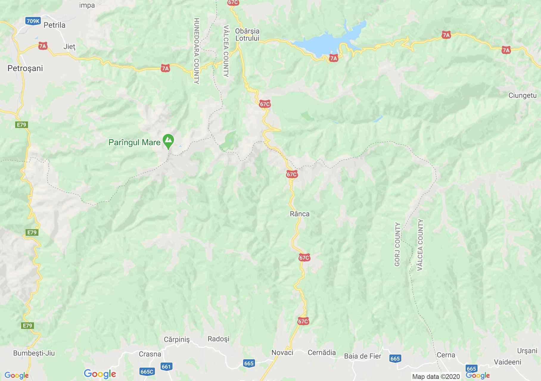 Transzalpina út interaktív turista térképe.