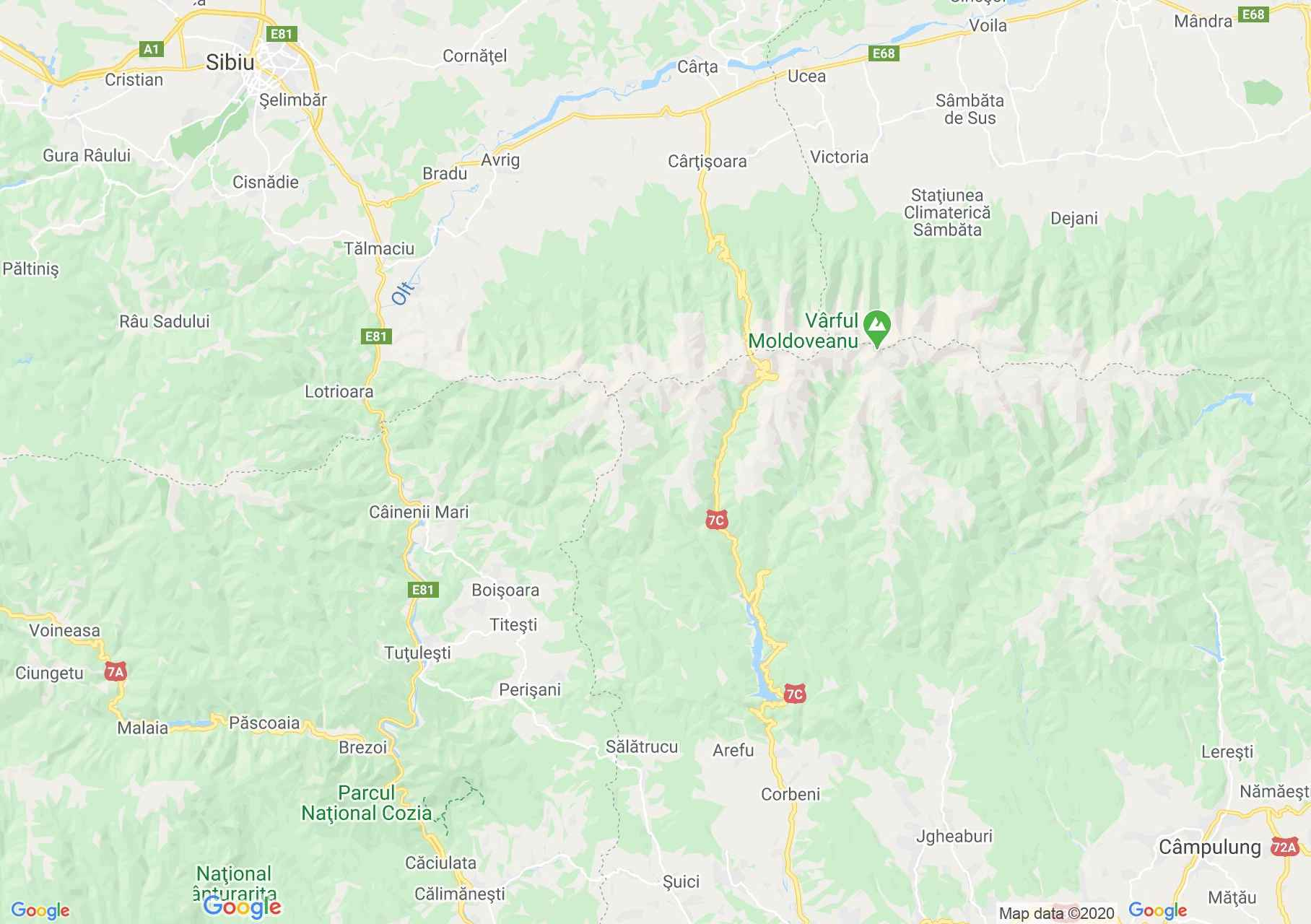 Transfagărăşan roan, Interactive tourist map