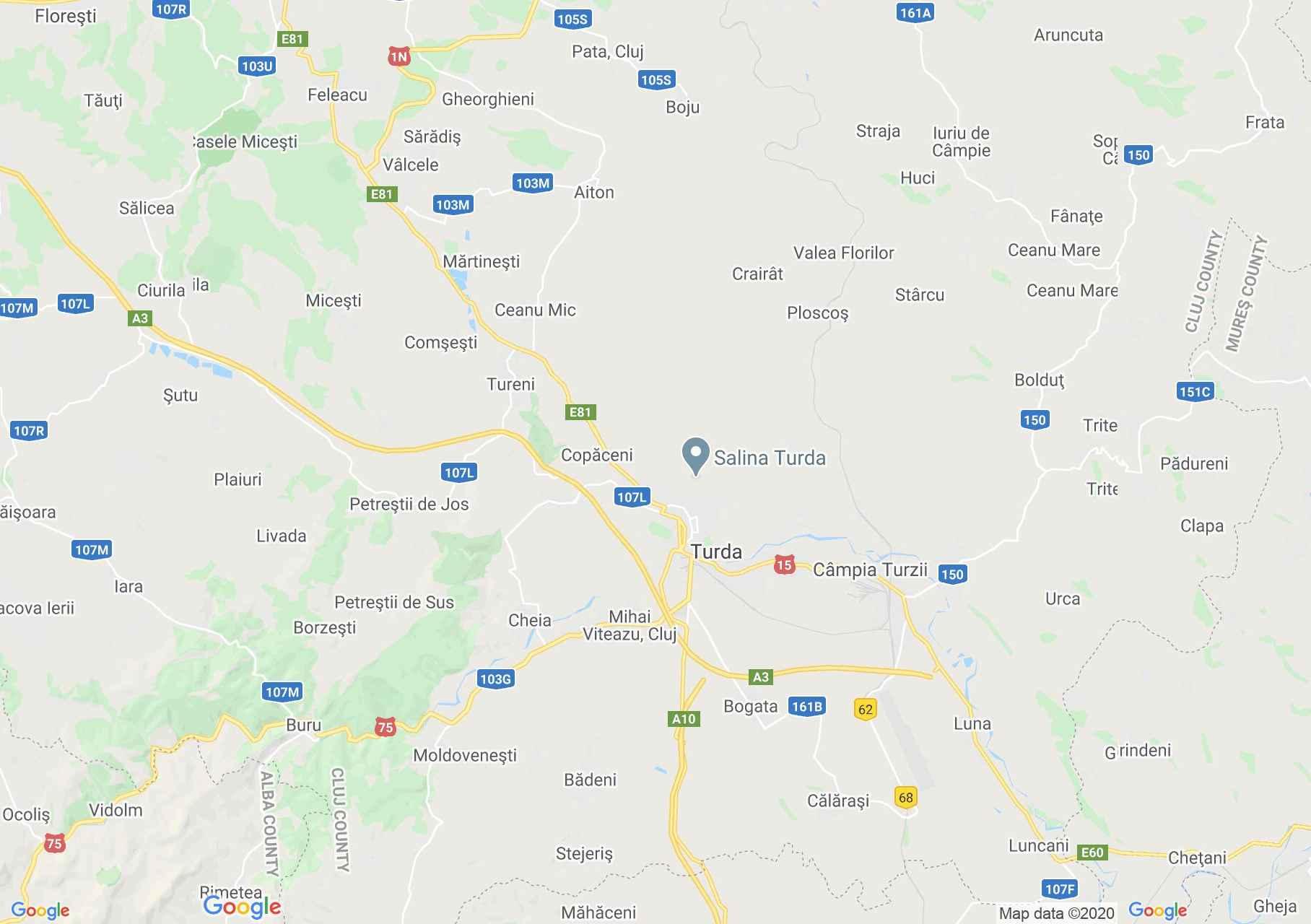 Turda area, Interactive tourist map