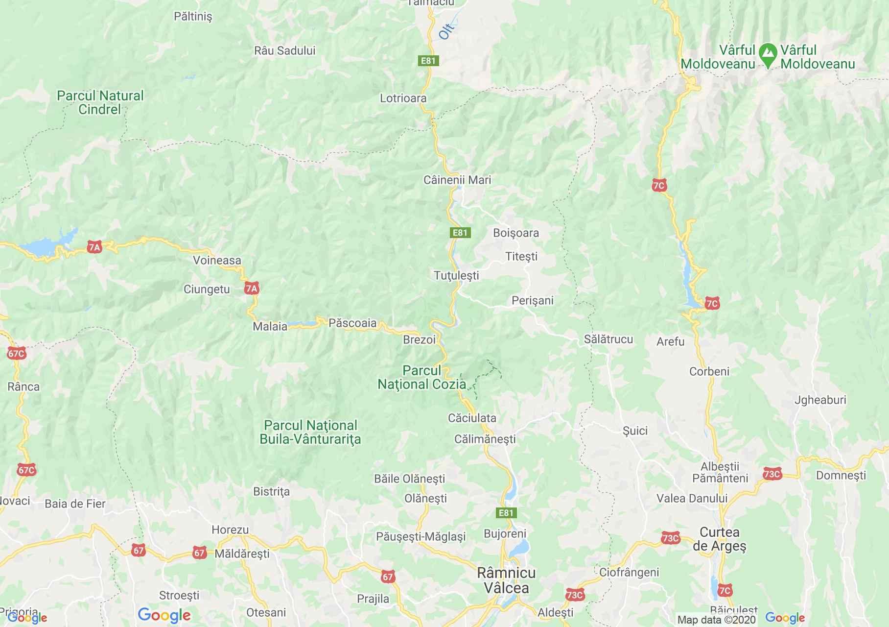 Valea Oltului, Harta turistică interactivă