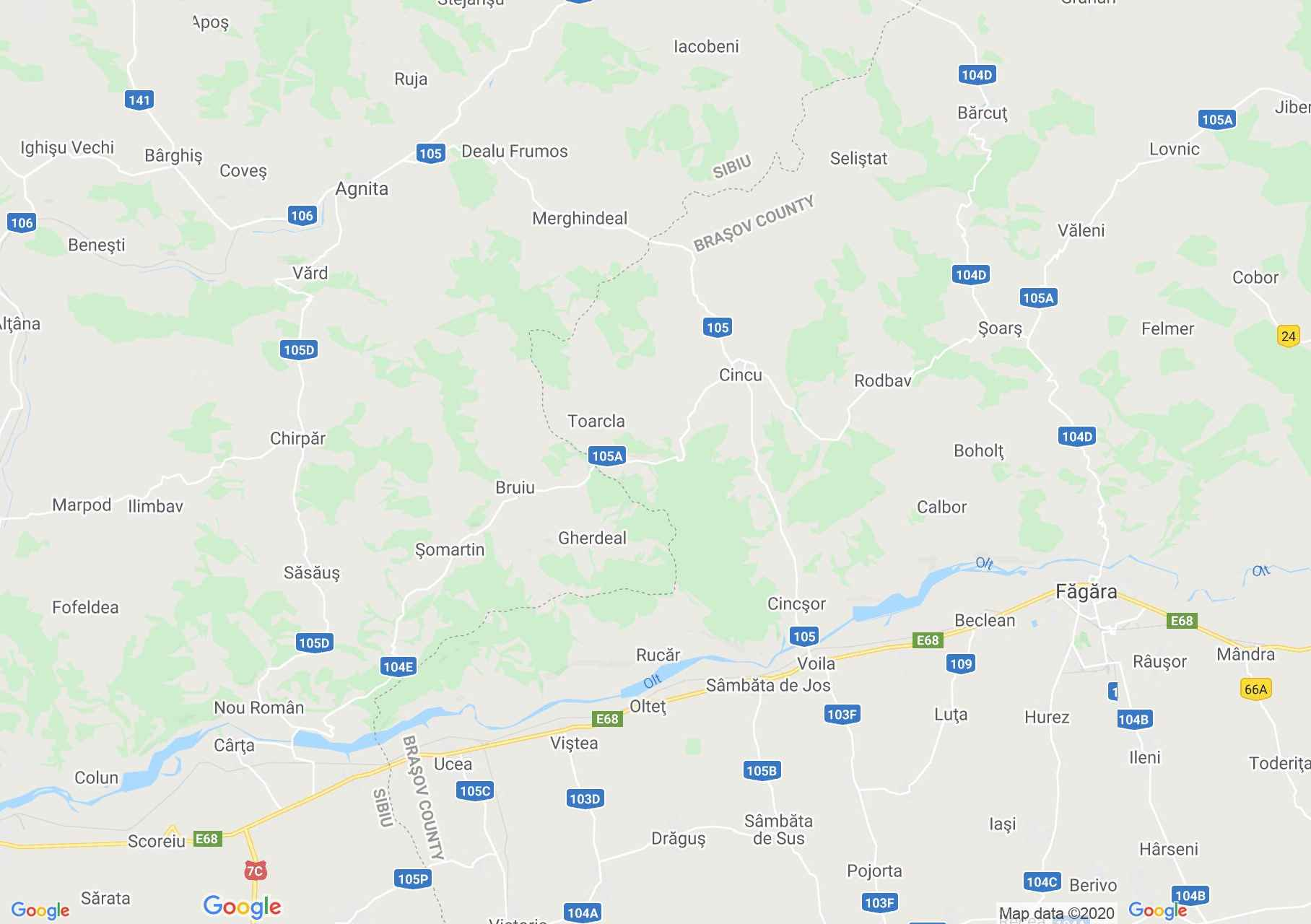 Olt valey: from Sibiu to Făgăraş, Interactive tourist map
