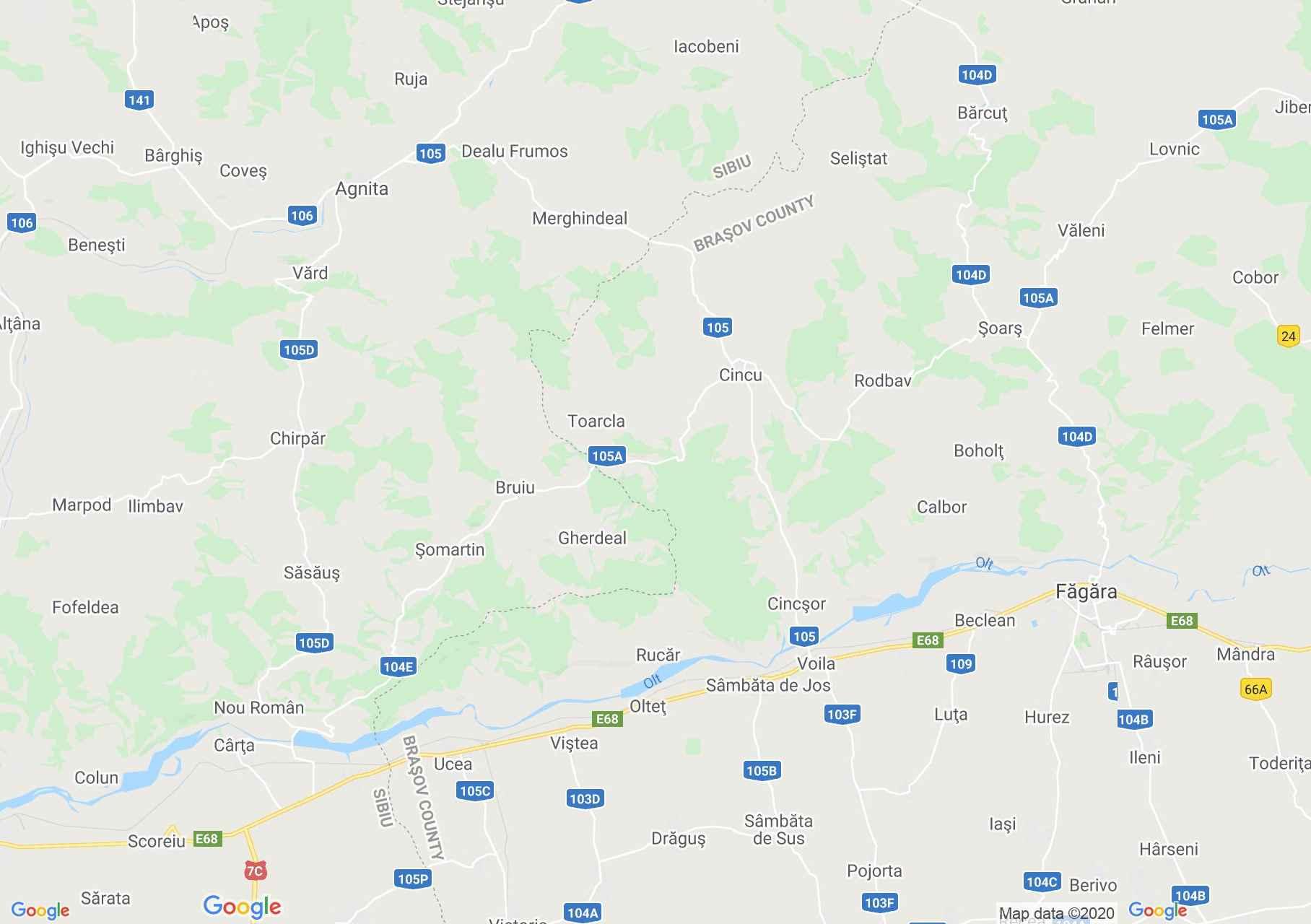 Az Olt völgye Szeben és Fogaras között interaktív turista térképe.