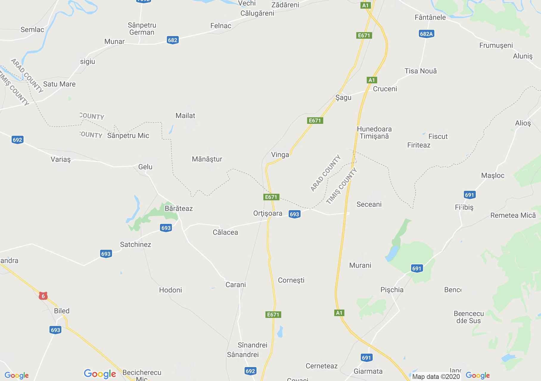 Zona Vinga-Orţişoara, Harta turistică interactivă