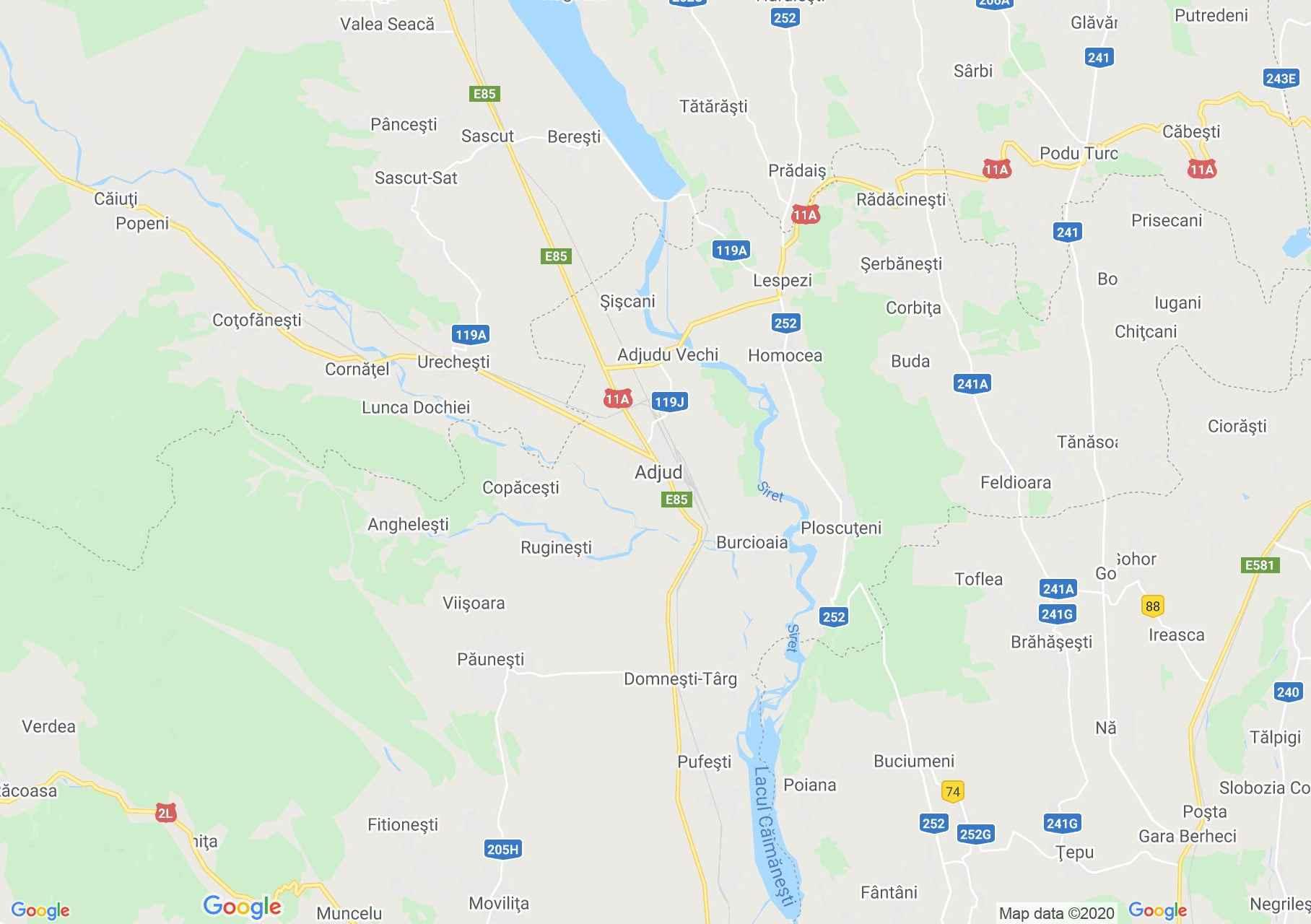 Zona Adjud, Harta turistică interactivă