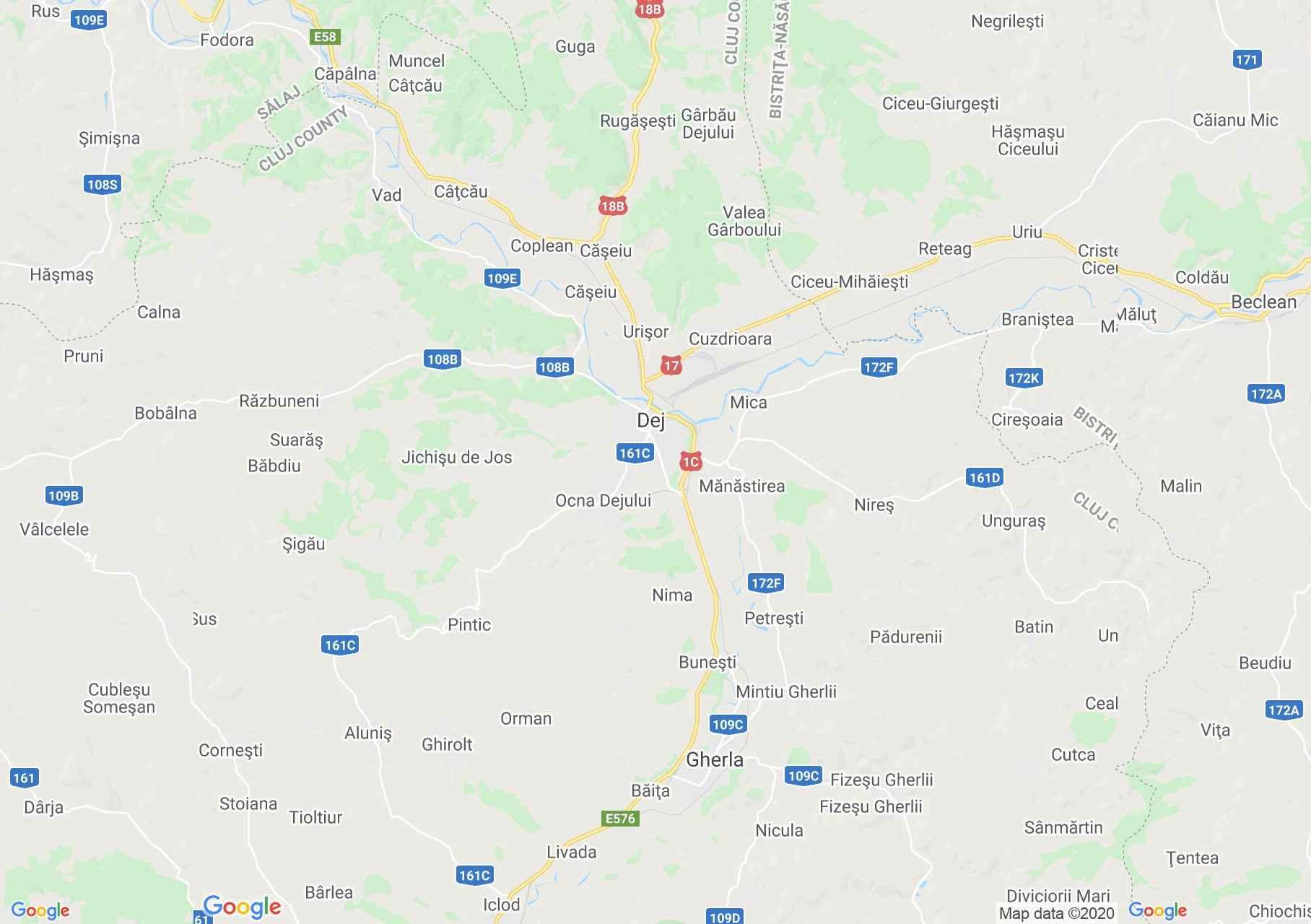 Dézs környéke interaktív turista térképe.