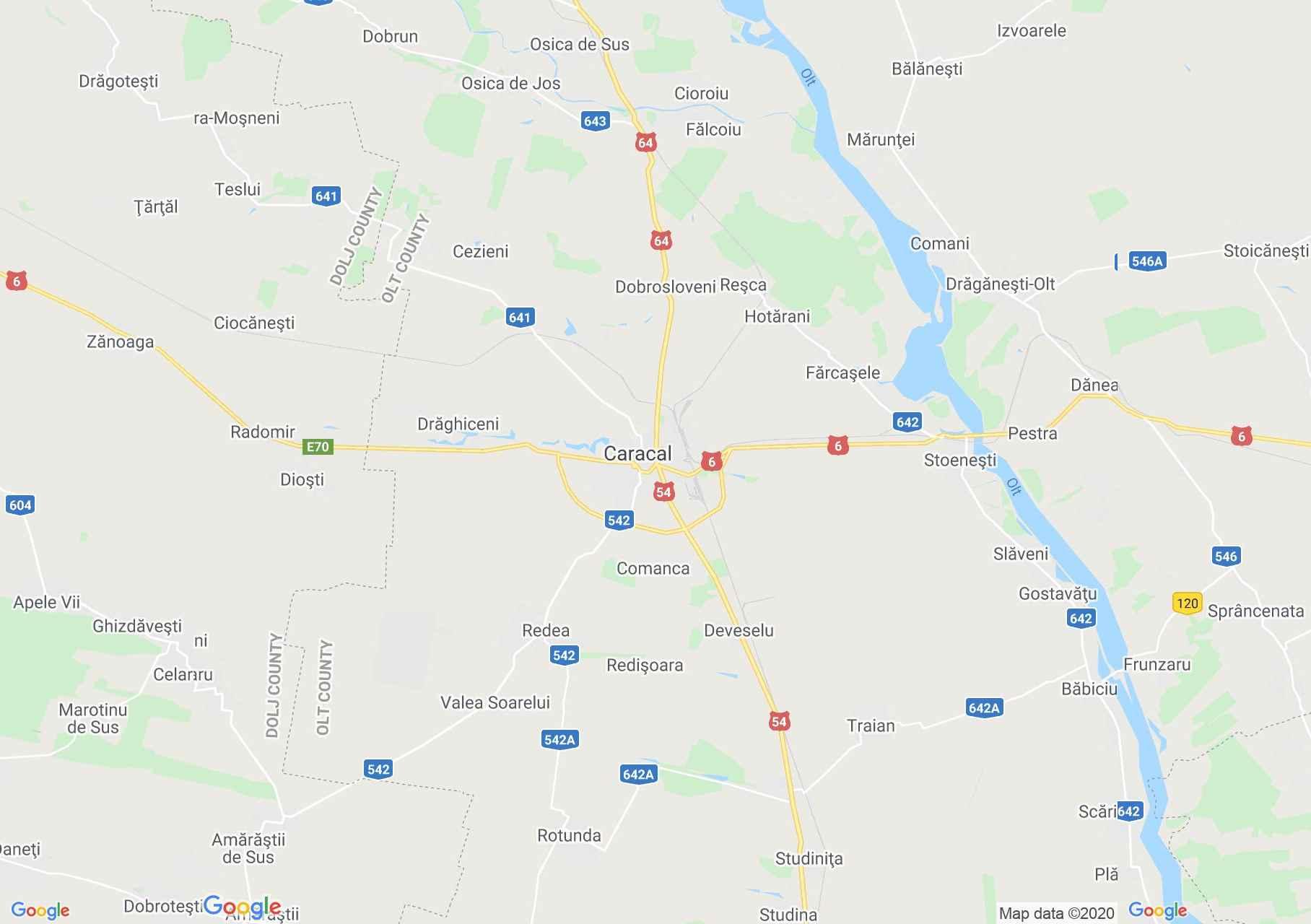 Zona Caracal, Harta turistică interactivă