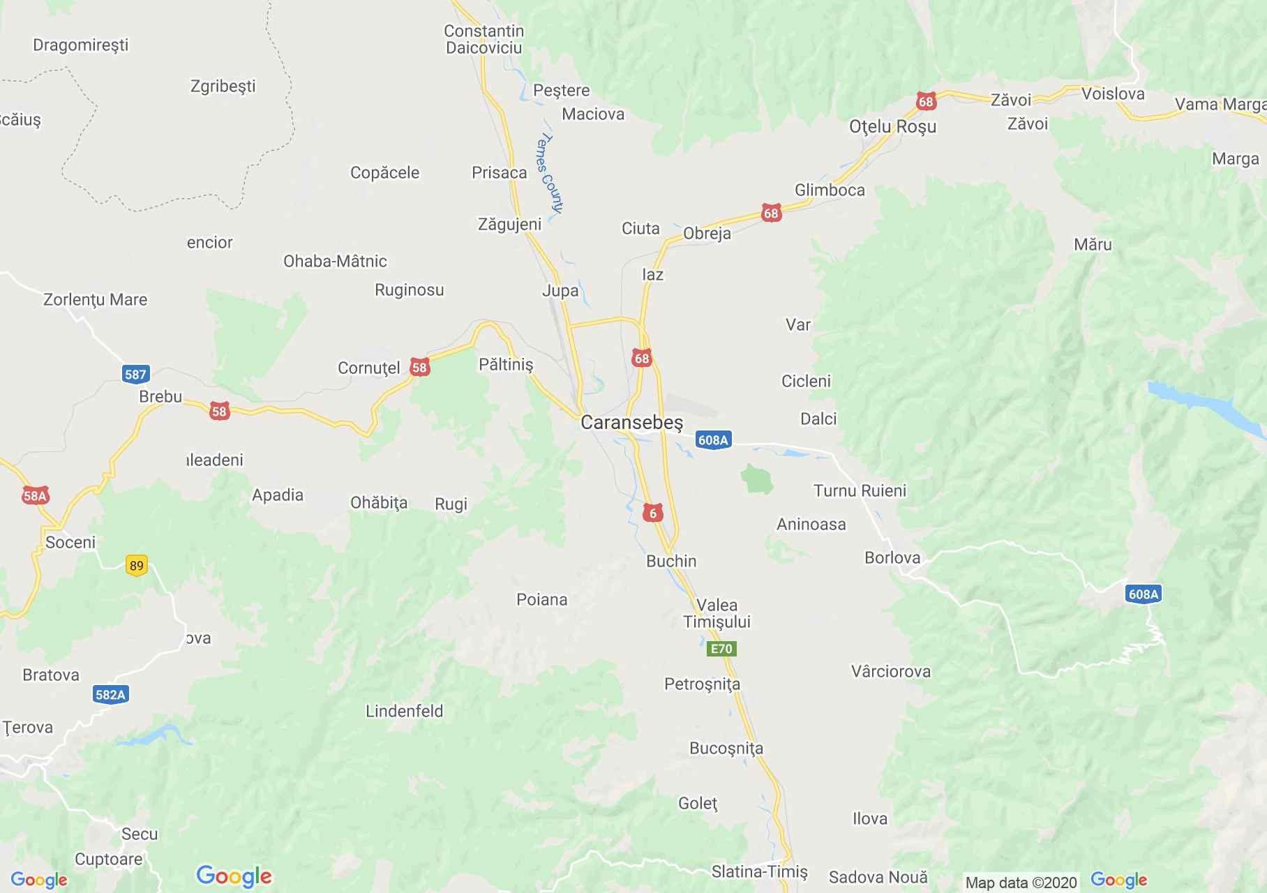 Karánszebes környéke interaktív turista térképe.